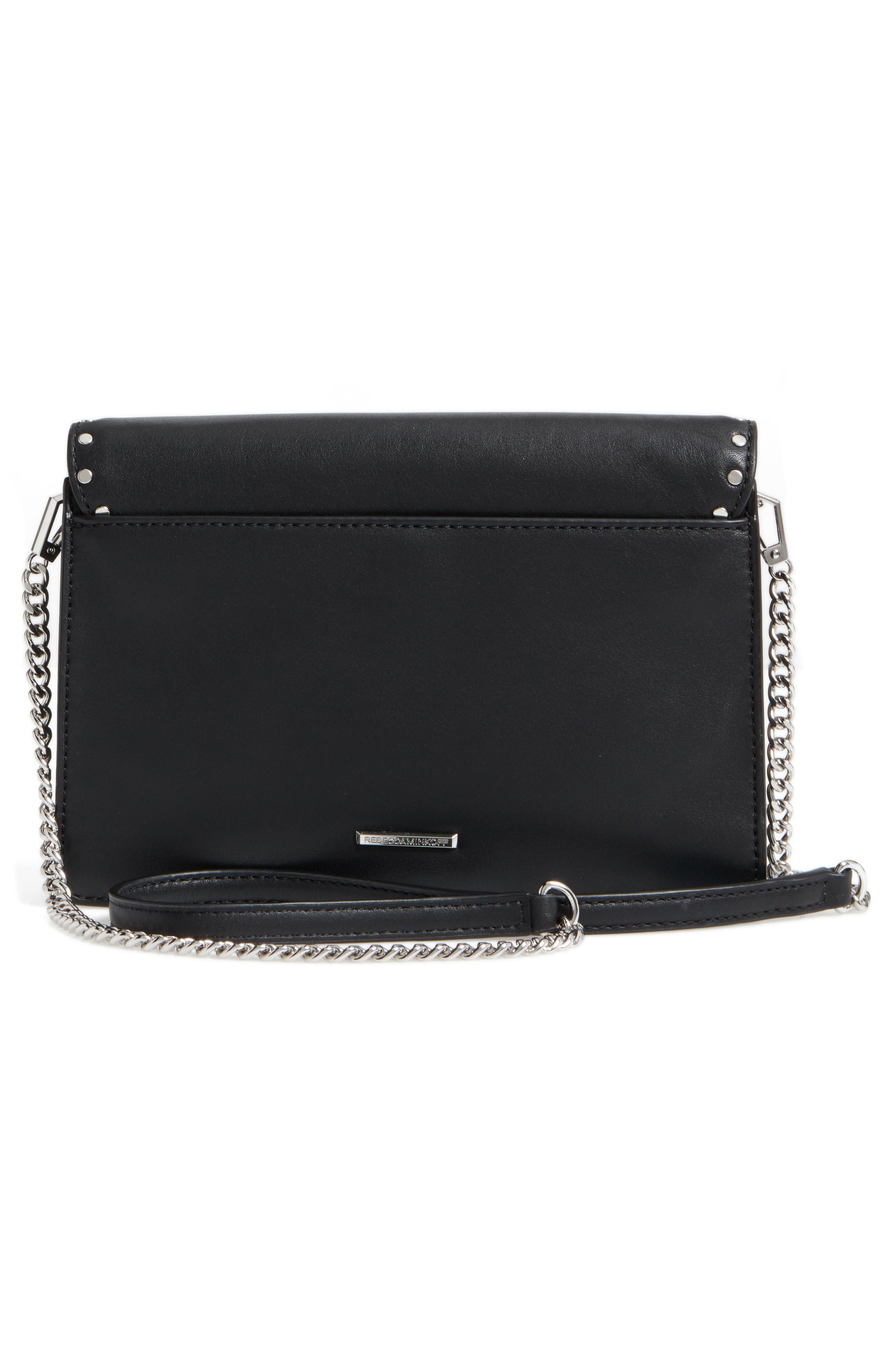 Medium Midnighter Leather Crossbody Bag,                             Alternate thumbnail 3, color,                             001