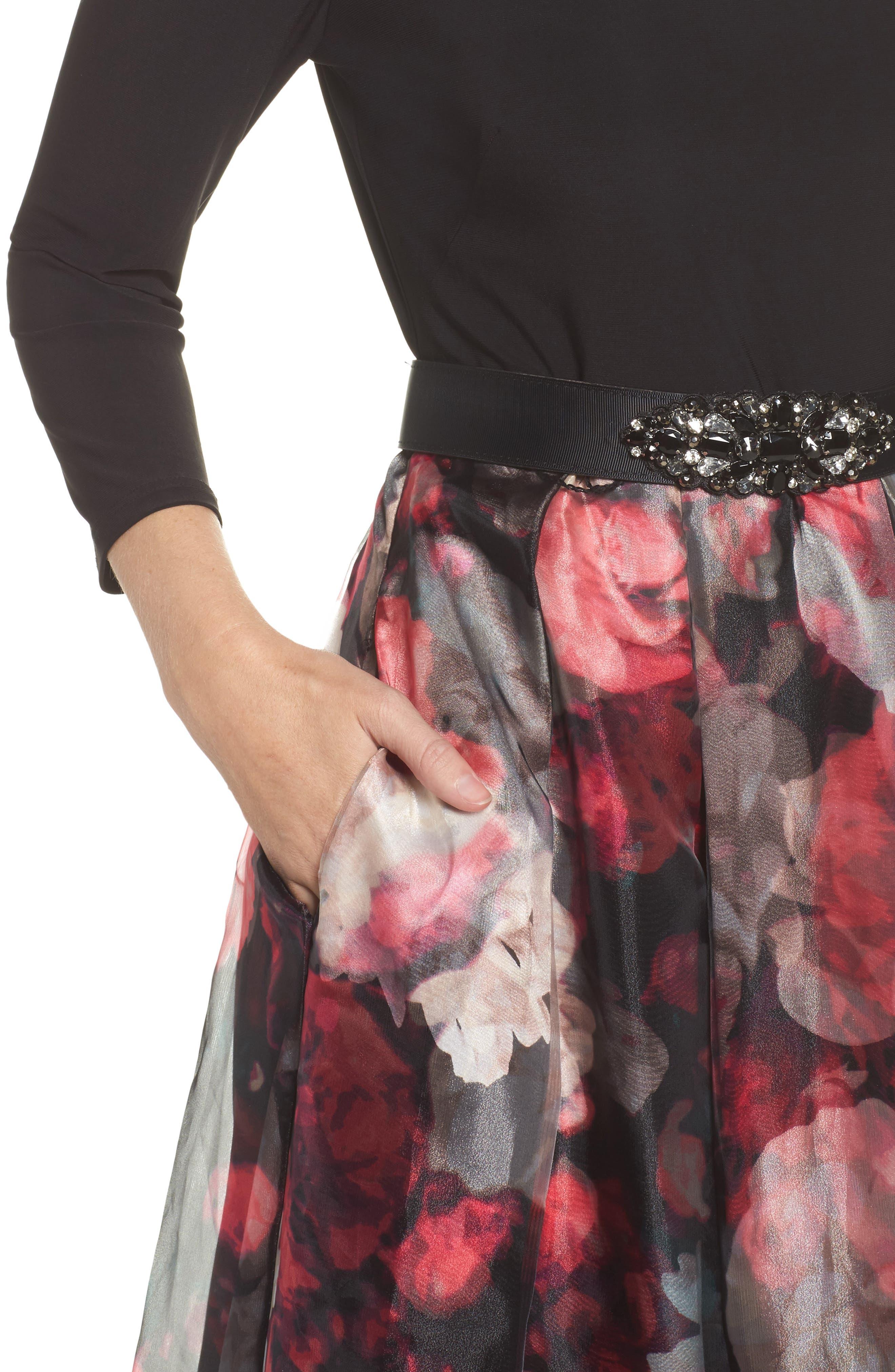 Embellished Knit & Organza Ballgown,                             Alternate thumbnail 4, color,                             001