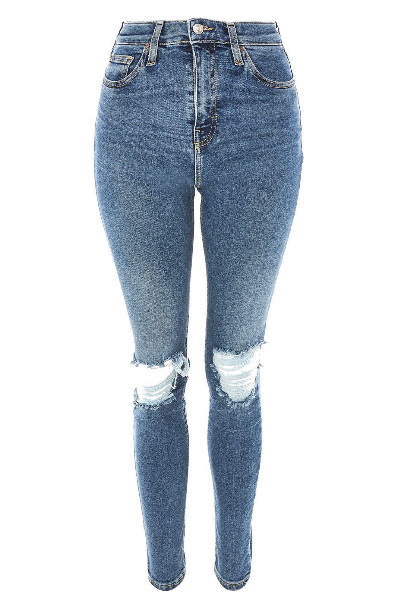 Jamie Rip High Waist Skinny Jeans,                             Alternate thumbnail 3, color,                             400