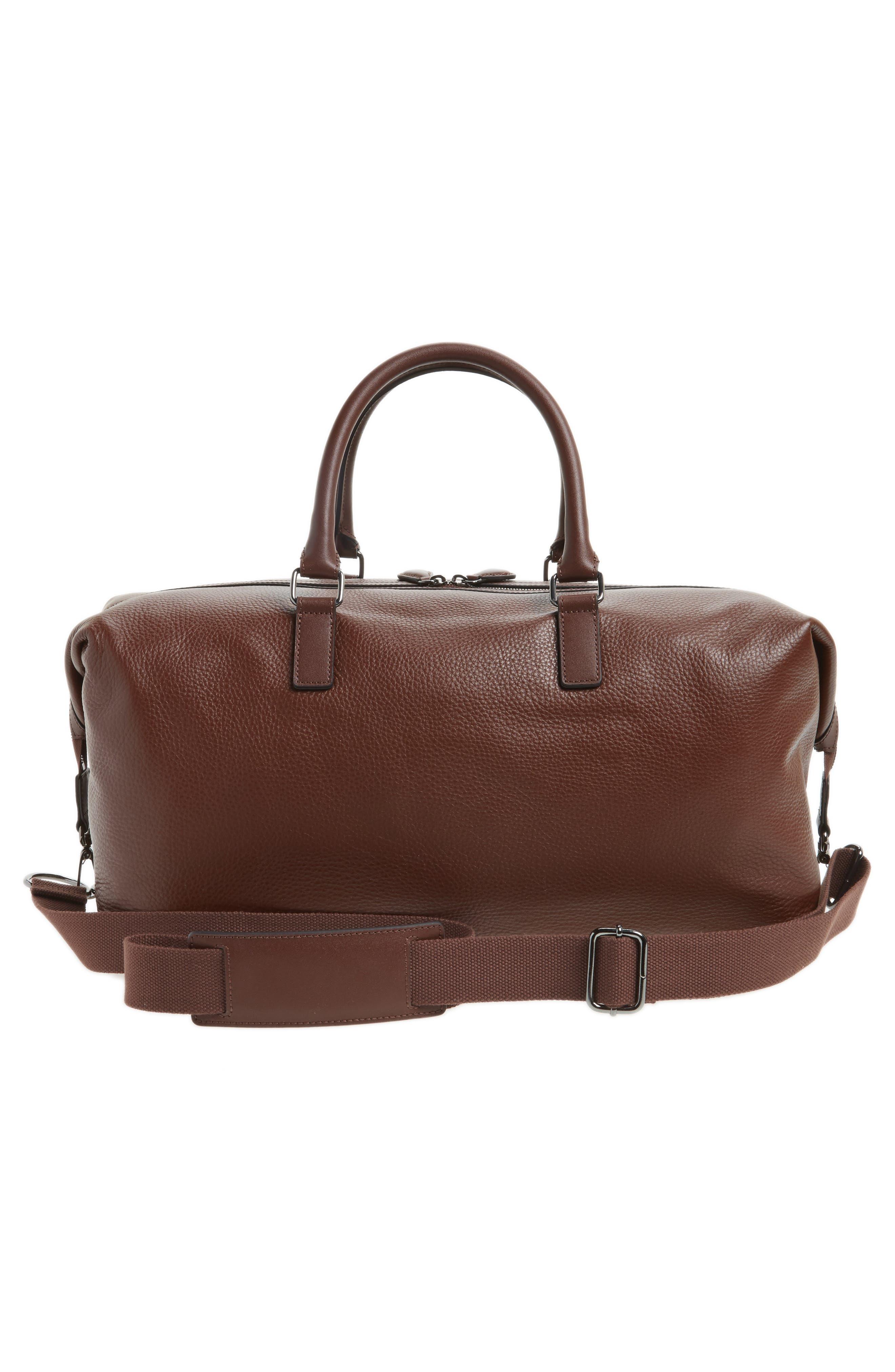 Leather Duffel Bag,                             Alternate thumbnail 3, color,                             217