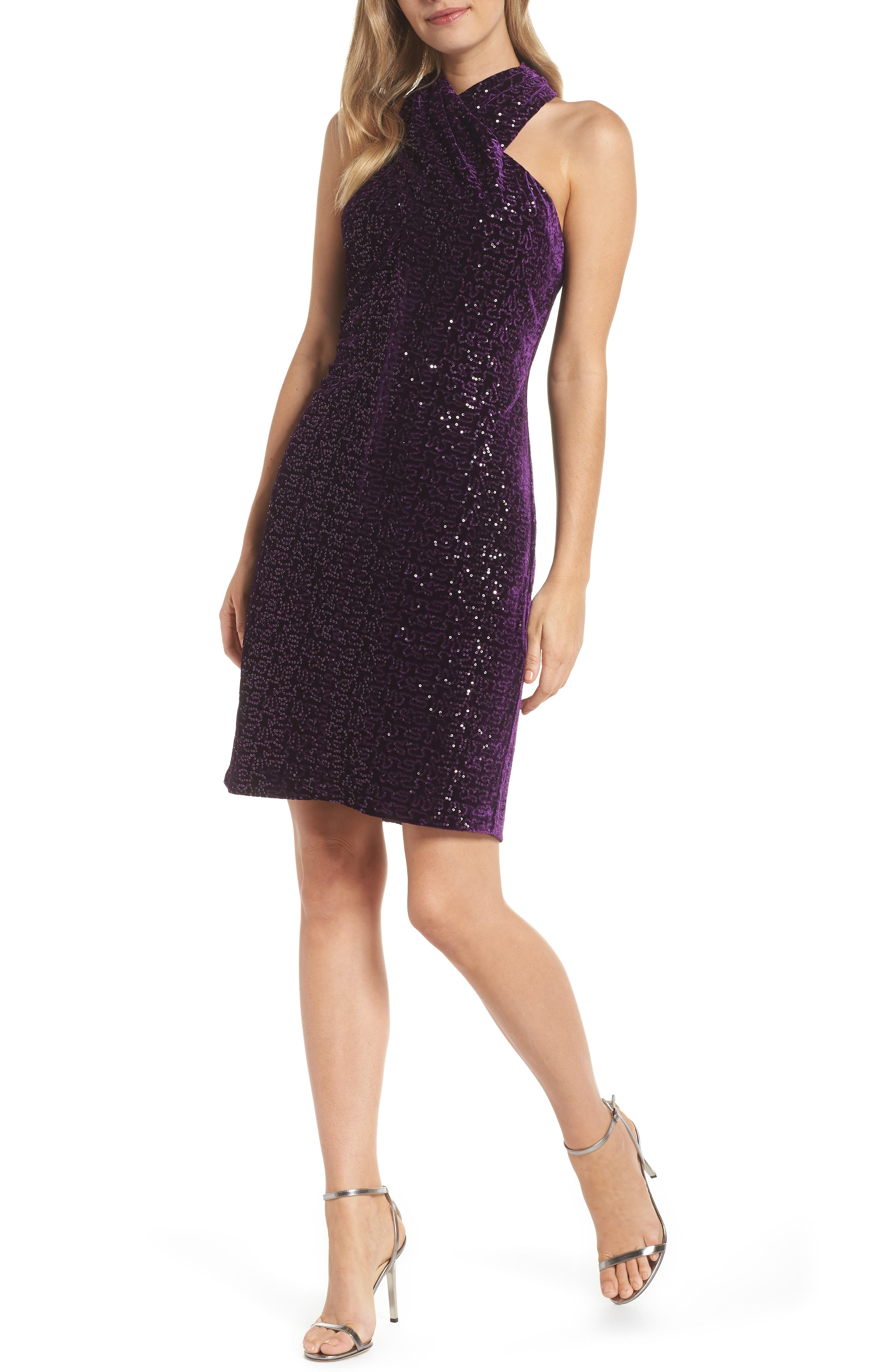 Petite Eliza J Halter Sheath Dress, Purple