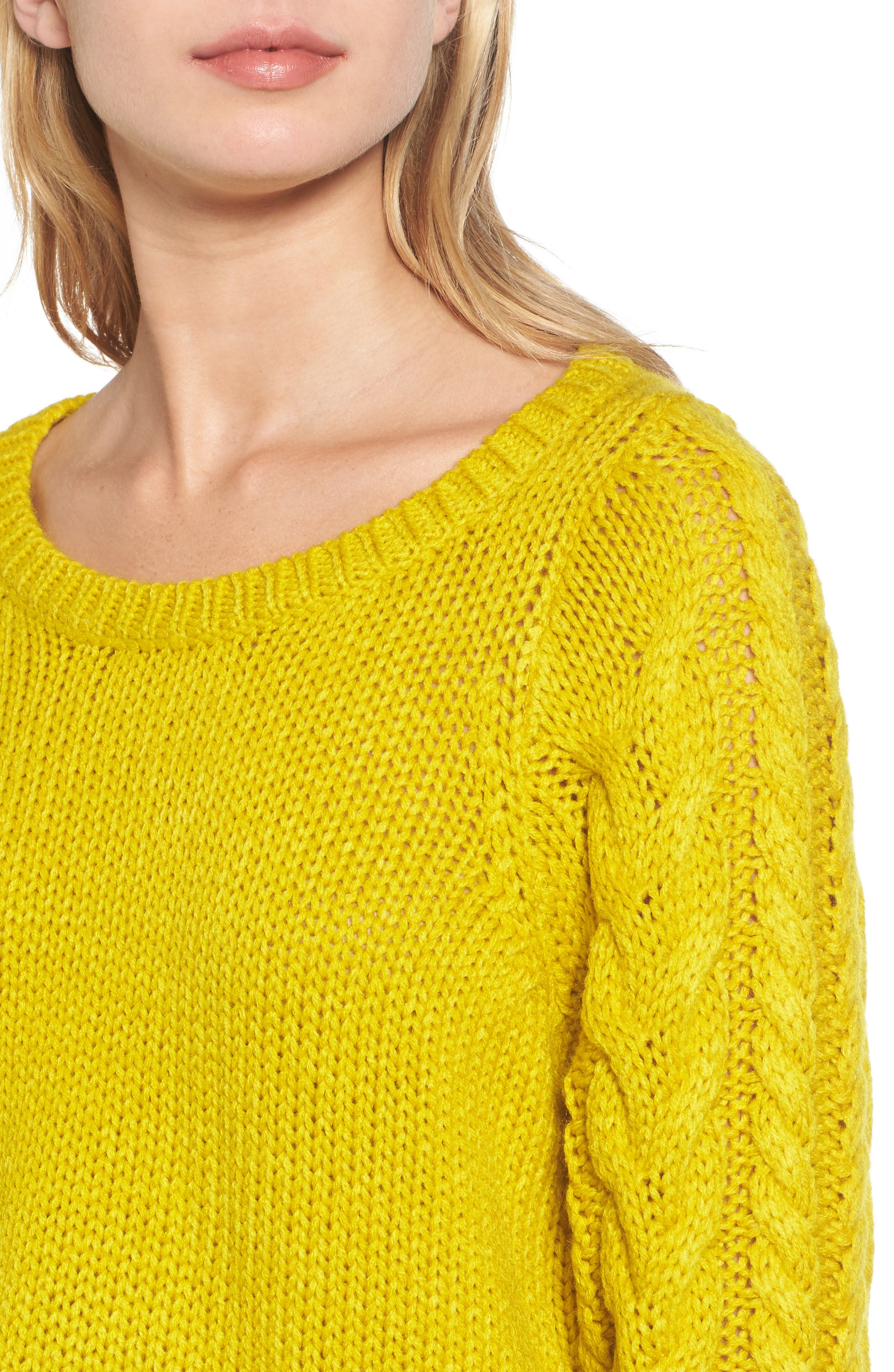 Cable Sleeve Pullover,                             Alternate thumbnail 8, color,