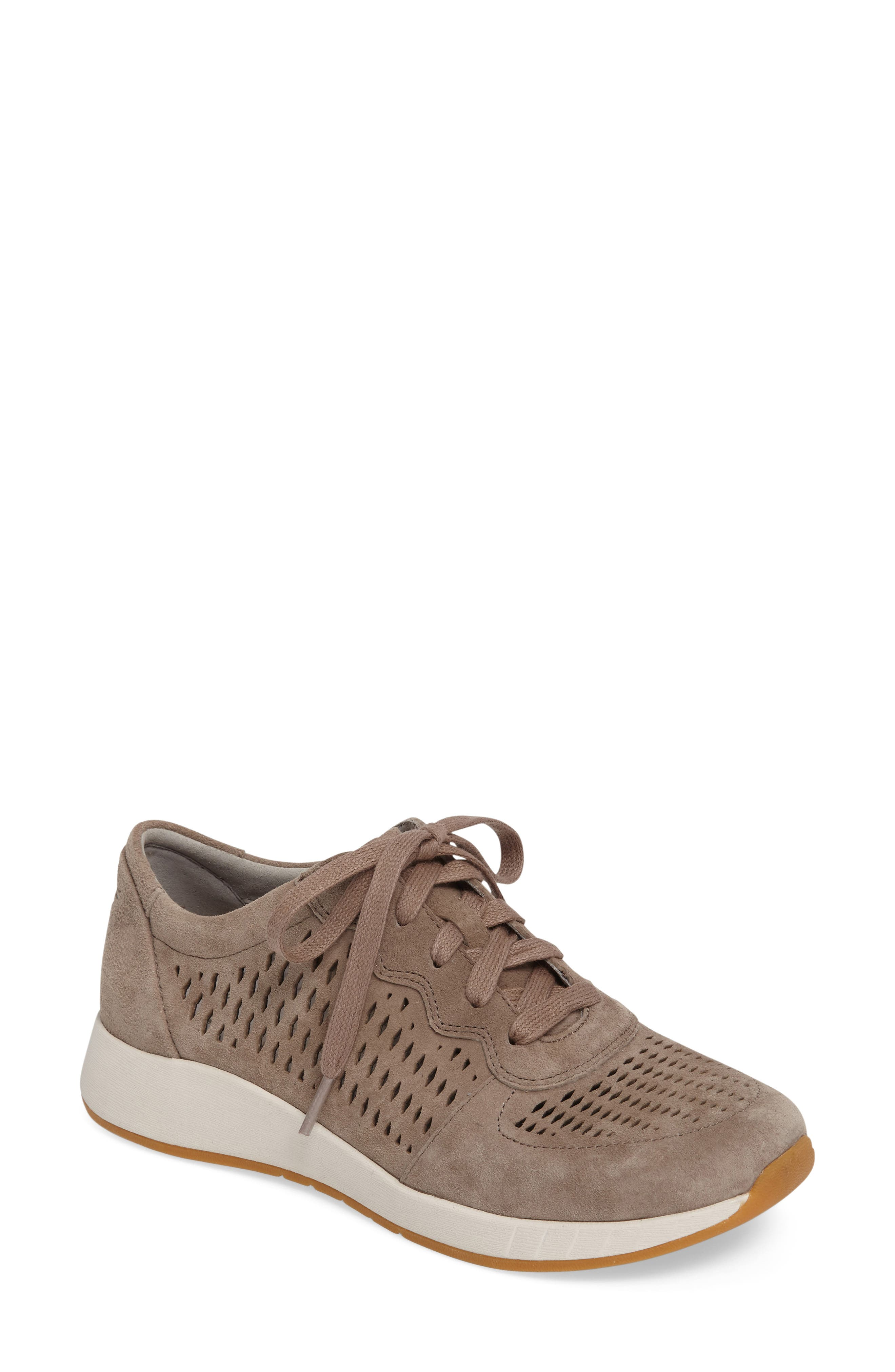 Charlie Perforated Sneaker,                         Main,                         color, WALNUT SUEDE