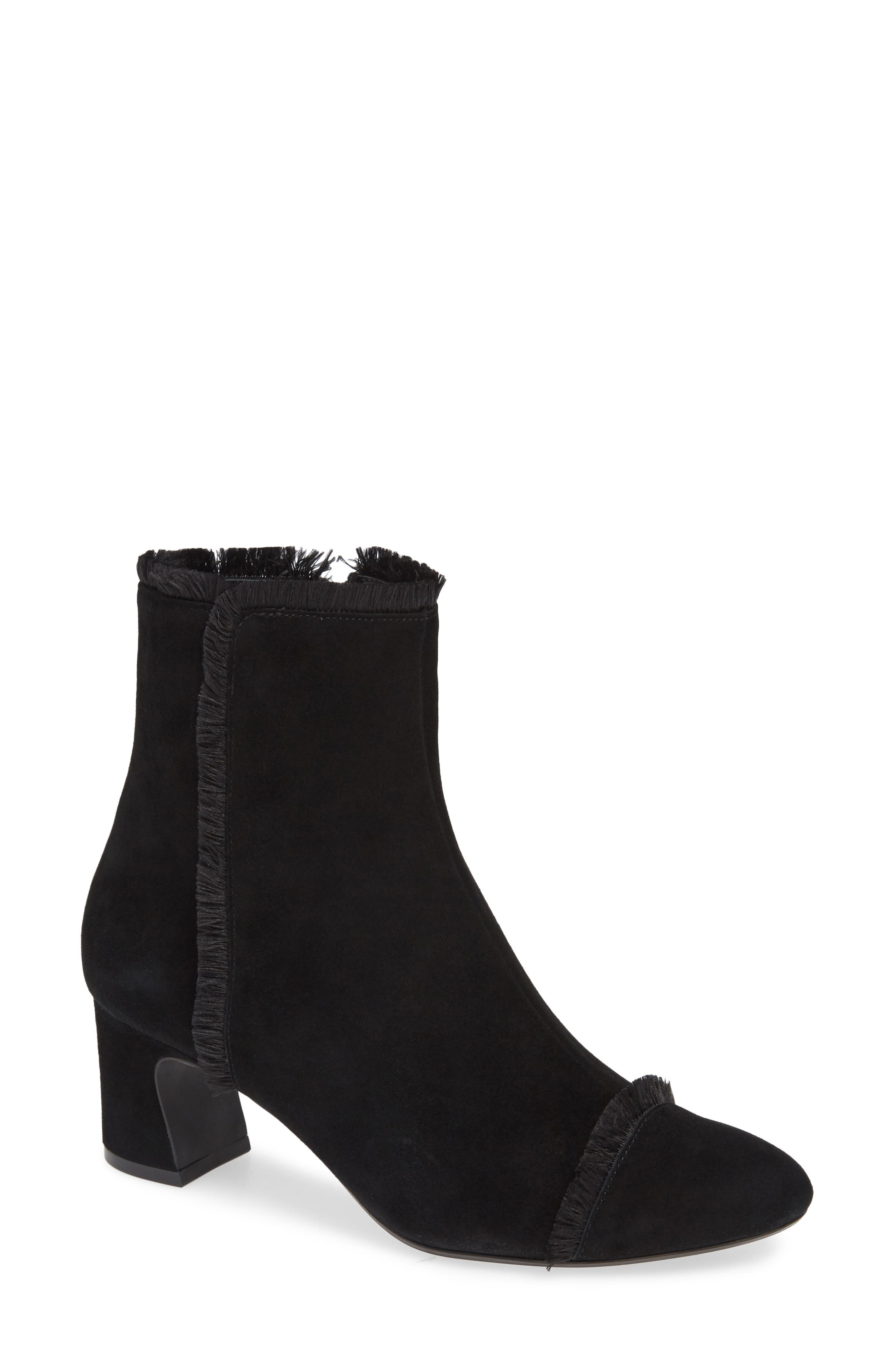 Danzing Fringe Bootie,                             Main thumbnail 1, color,                             BLACK SUEDE
