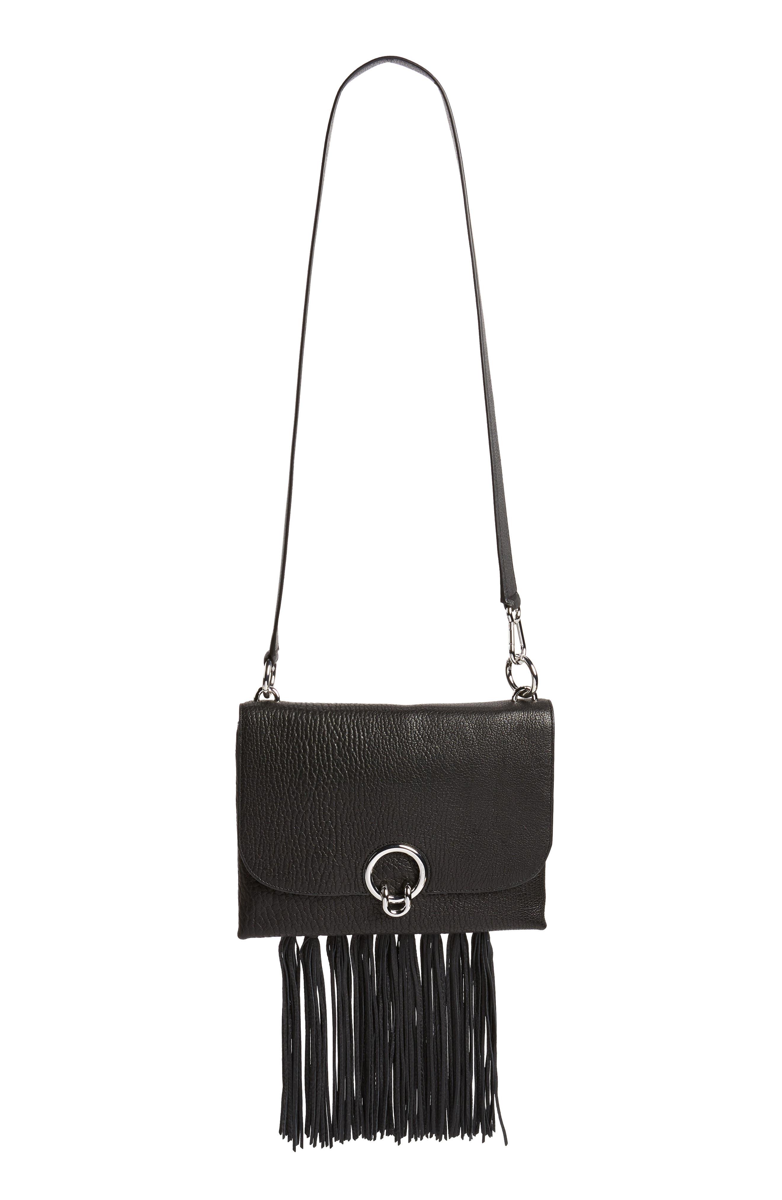 Isabel Fringe Leather Shoulder Bag,                             Alternate thumbnail 2, color,                             001