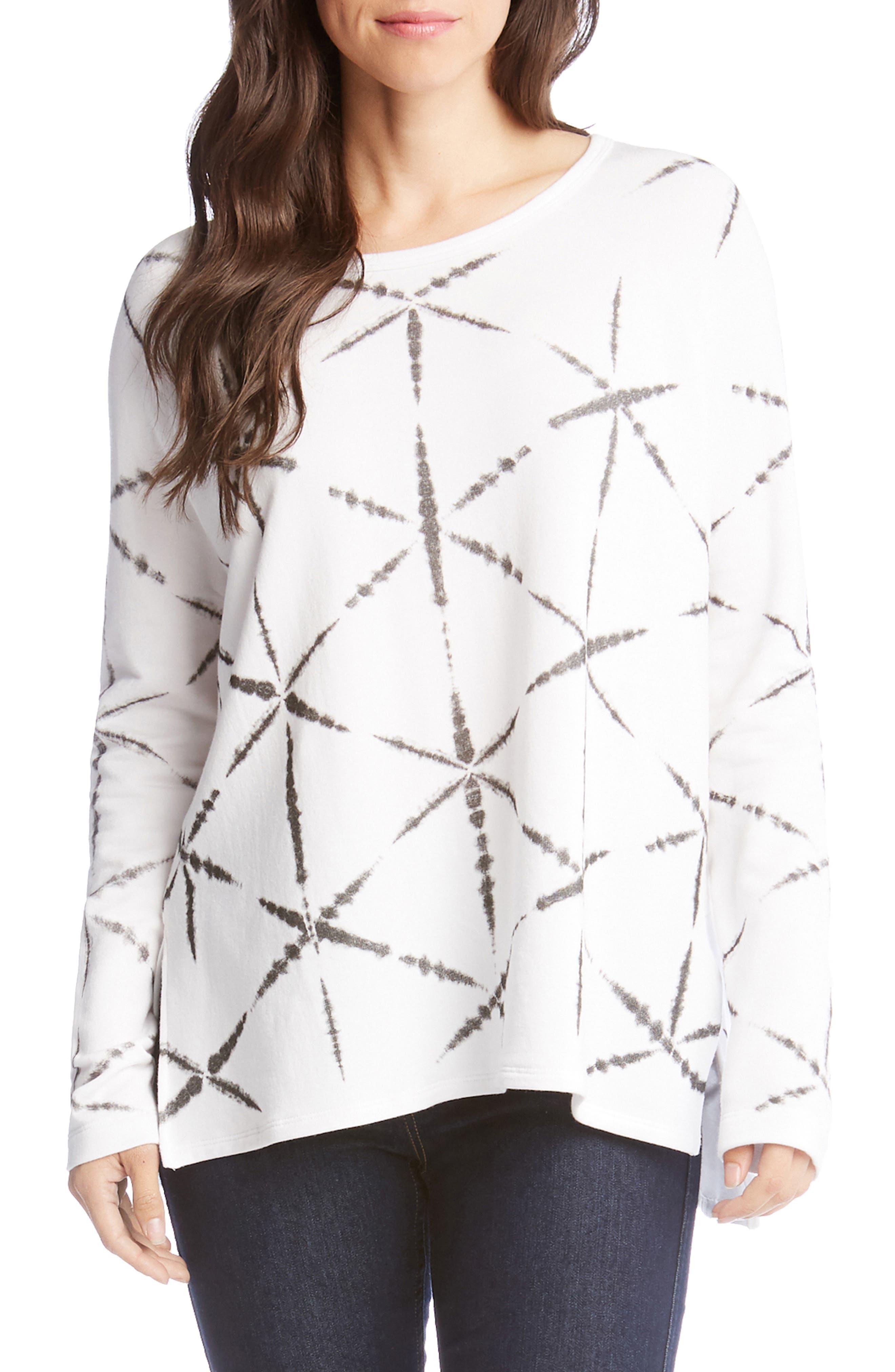 Karen Kane Printed High/low Sweatshirt, White