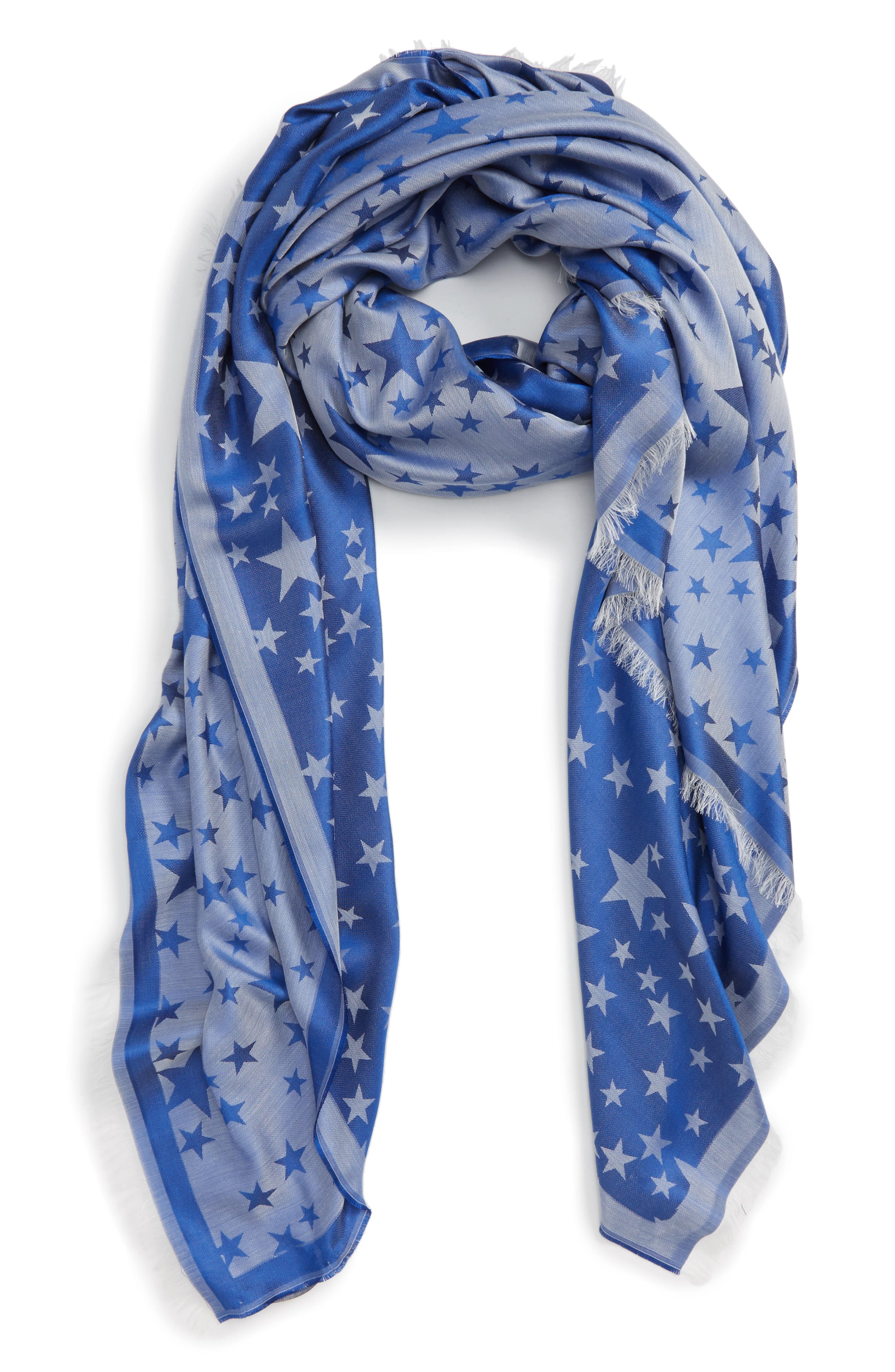 Star Jacquard Silk & Modal Scarf,                             Alternate thumbnail 2, color,                             400