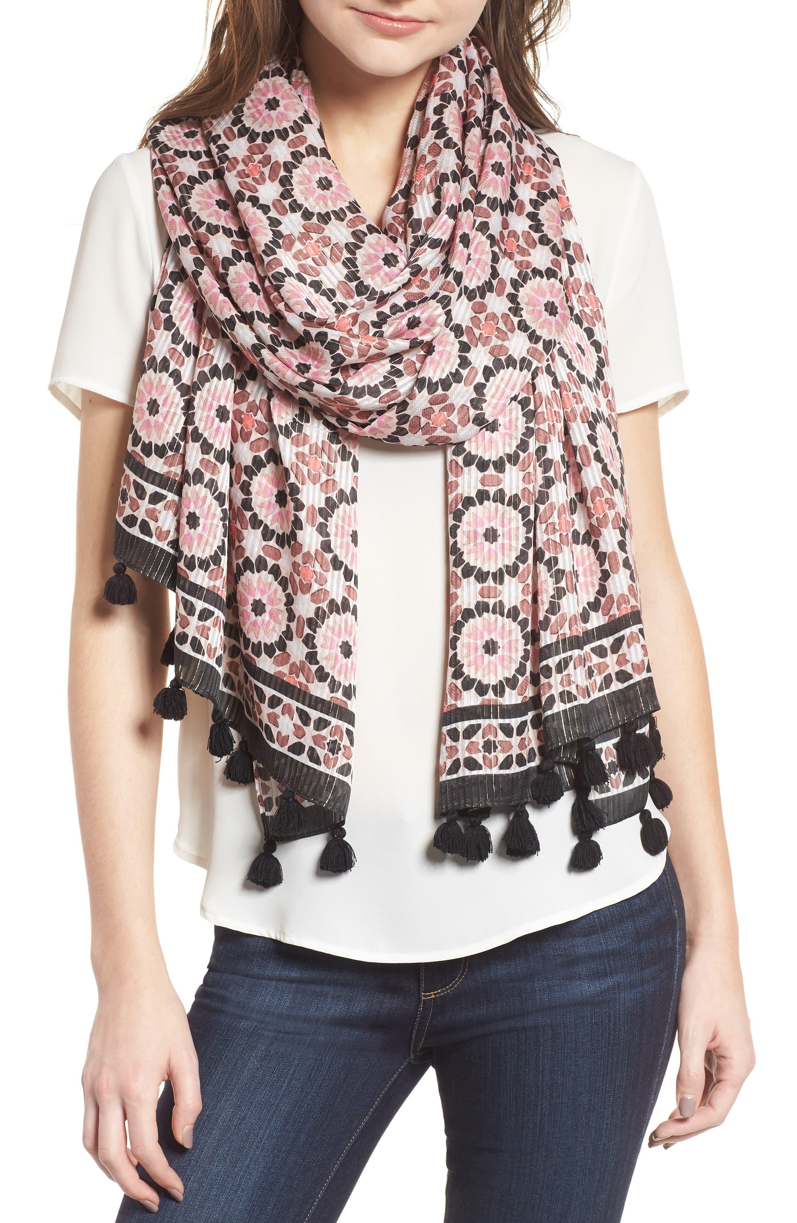 floral mosaic scarf,                         Main,                         color, 650