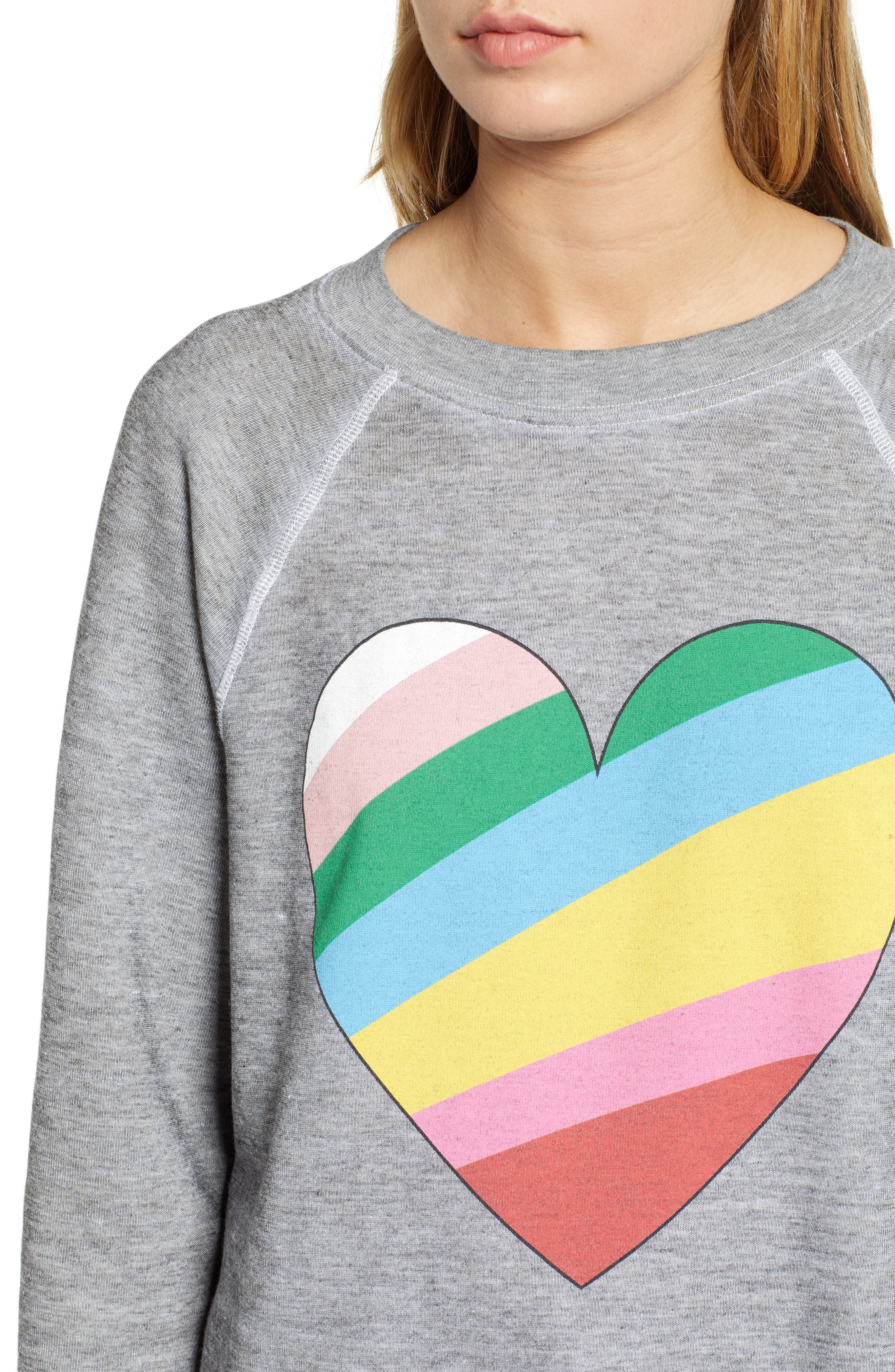 Sommers Love Hearts Sweatshirt,                             Alternate thumbnail 4, color,                             HEATHER
