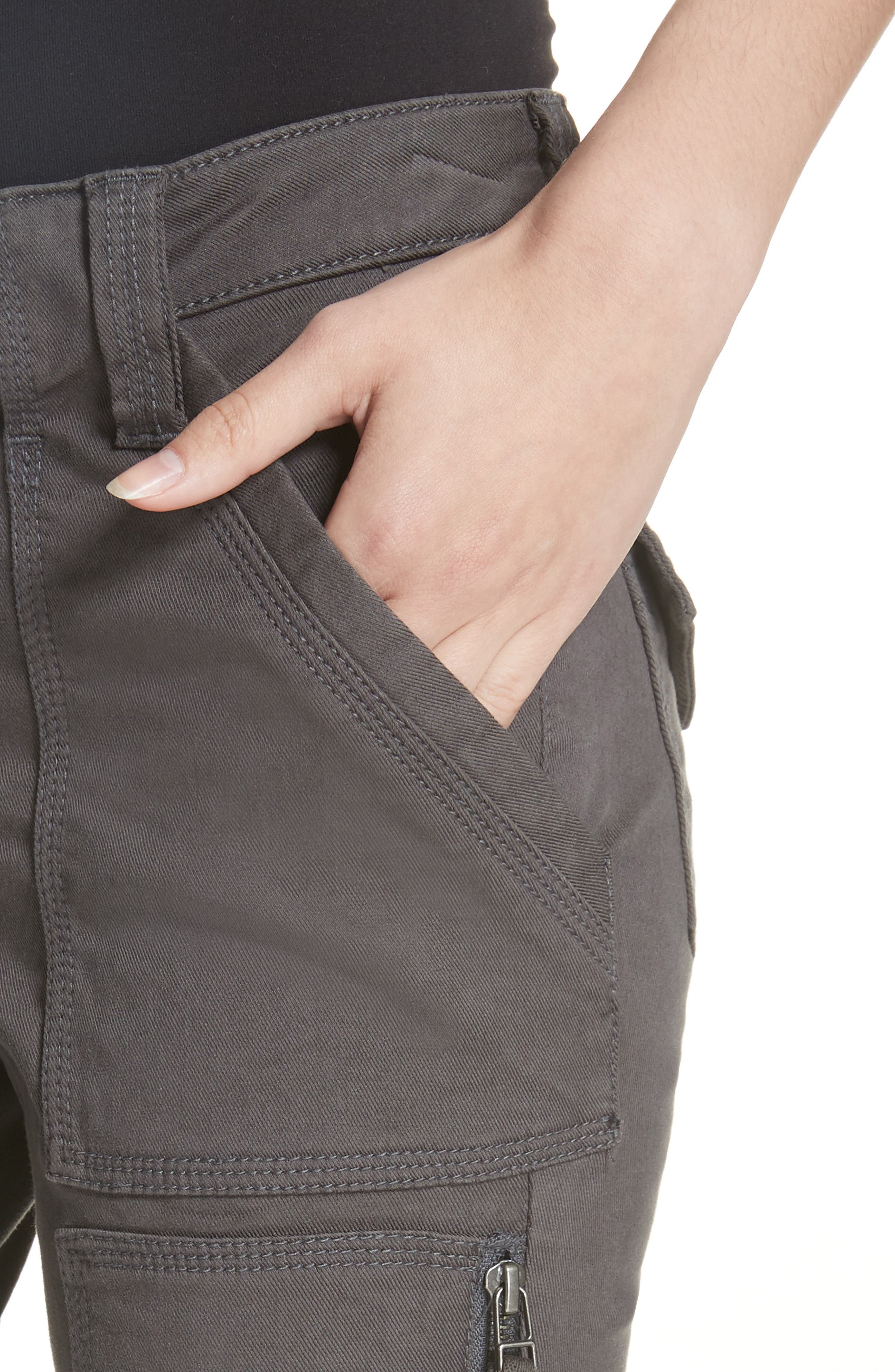 Malbi Slim Stretch Cotton Blend Cargo Pants,                             Alternate thumbnail 4, color,                             STORM