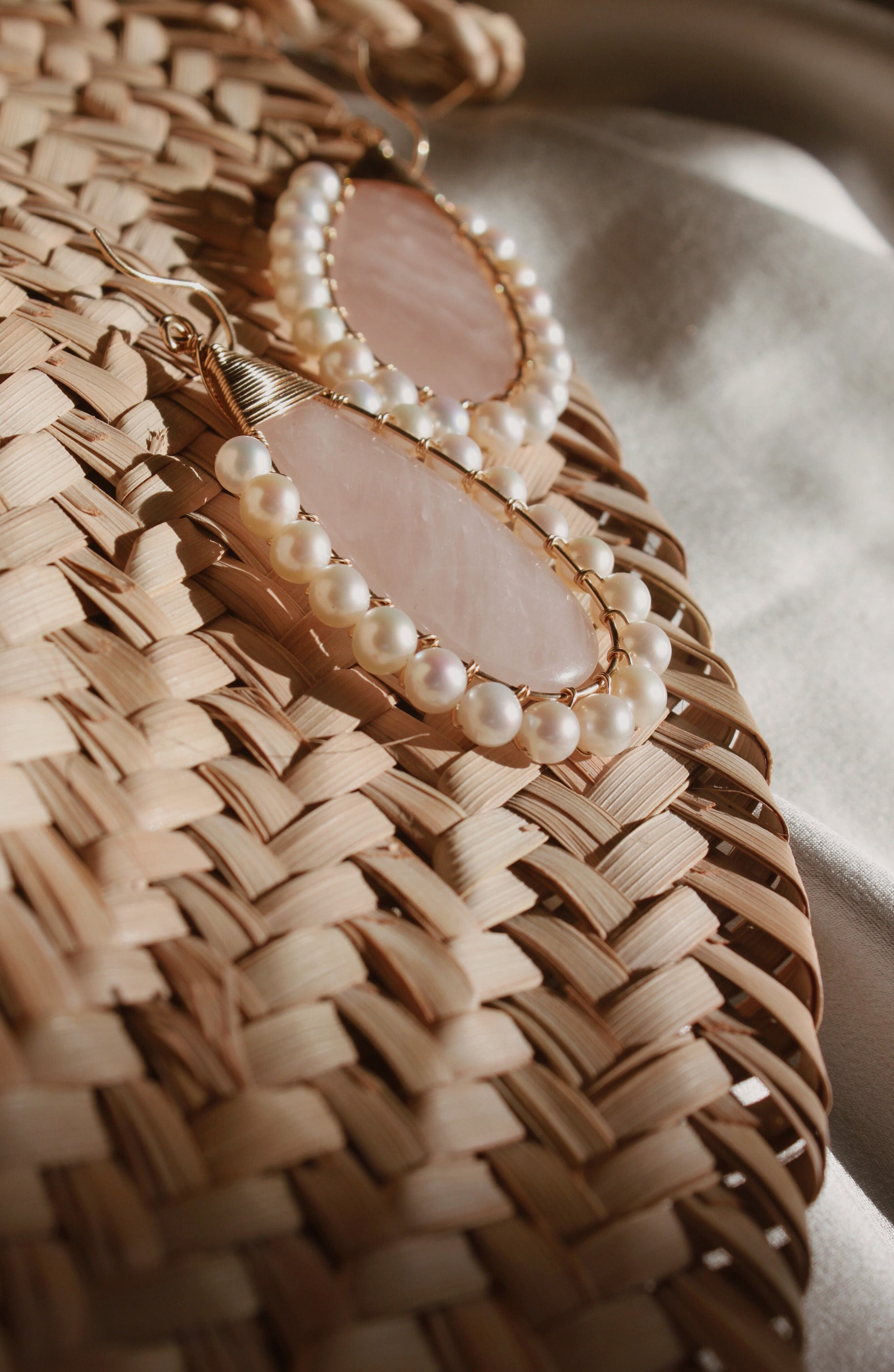 Lolita Rose Quartz & Freshwater Pearl Statement Earrings,                             Alternate thumbnail 3, color,                             ROSE QUARTZ