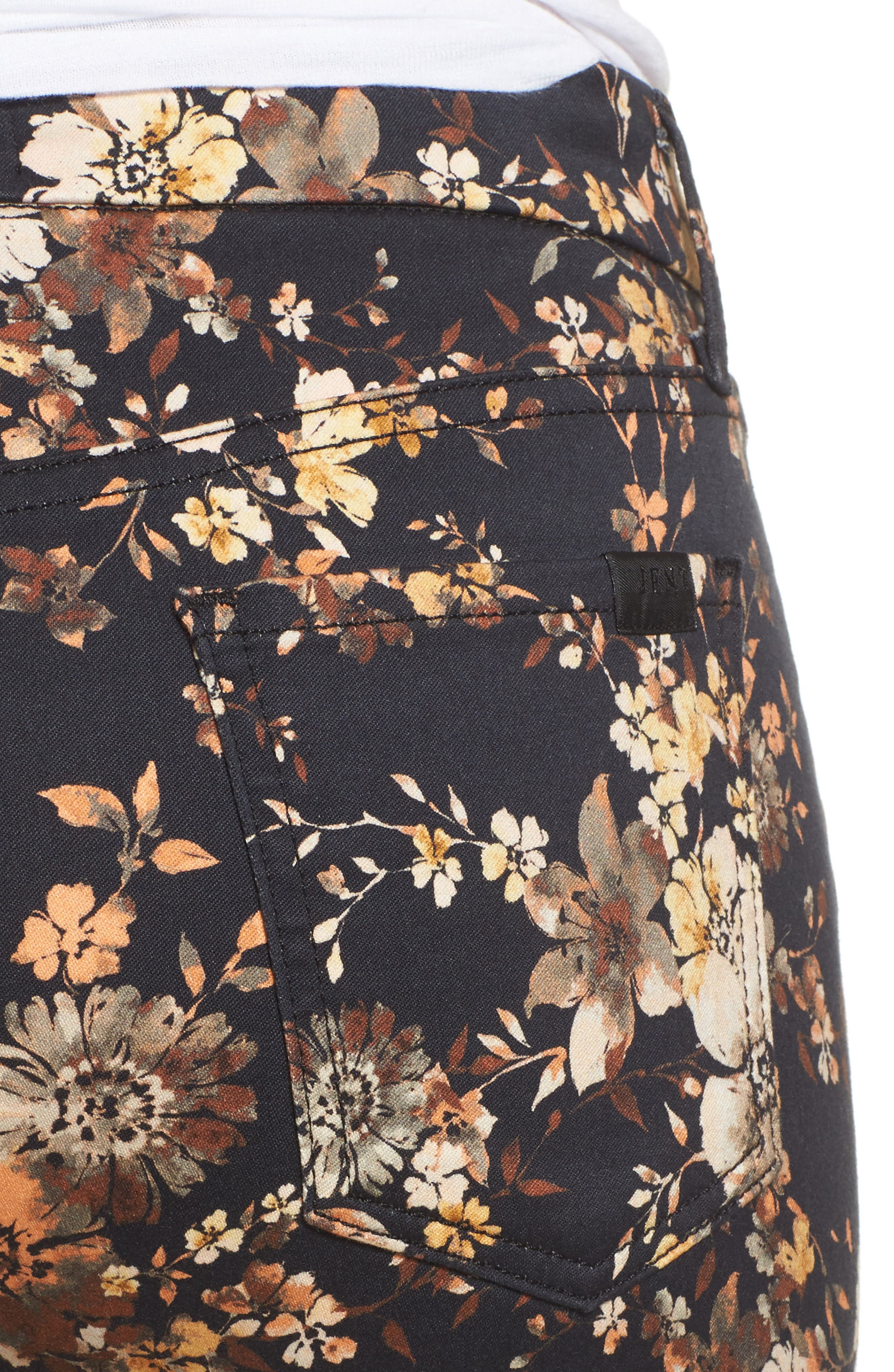 Dark Floral Ankle Skinny Jeans,                             Alternate thumbnail 4, color,