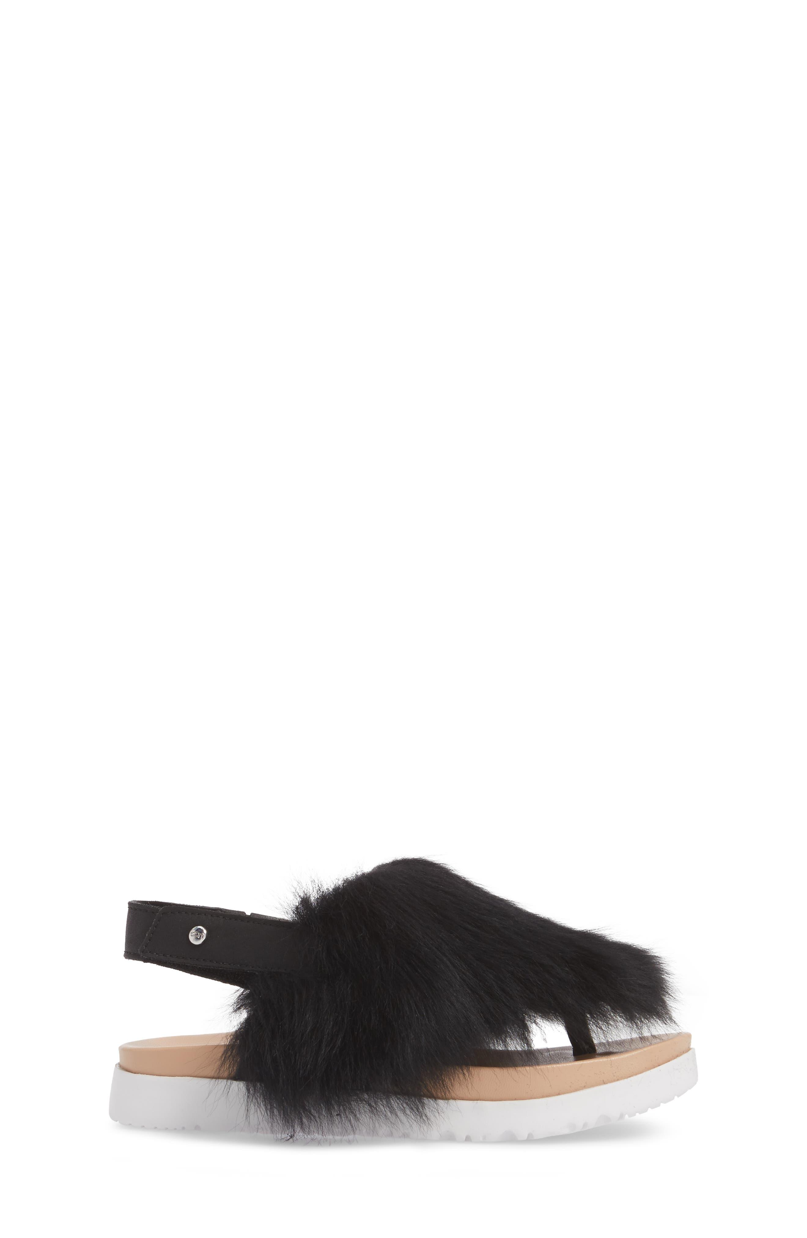 Holly Genuine Shearling Sandal,                             Alternate thumbnail 3, color,                             001