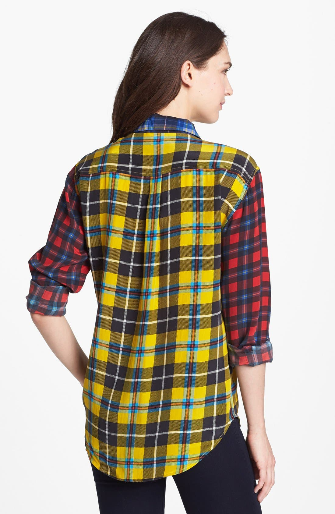 'Signature' Plaid Silk Shirt,                             Alternate thumbnail 2, color,                             740