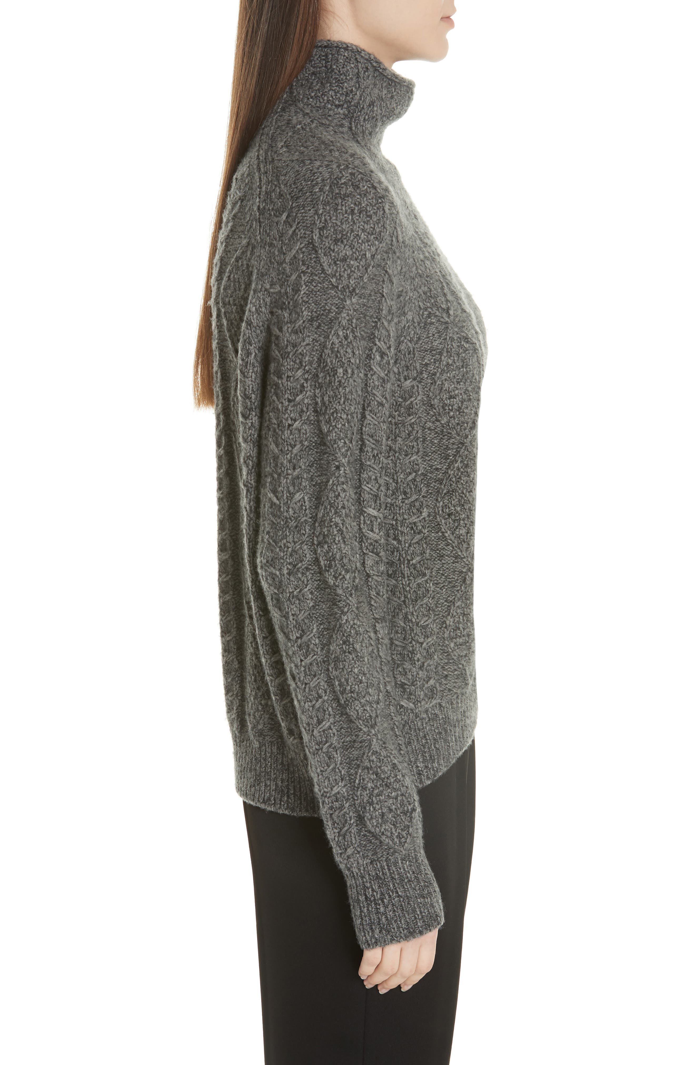 Cable Turtleneck Sweater,                             Alternate thumbnail 3, color,                             HEATHER STONE/ HEATHER CARBON