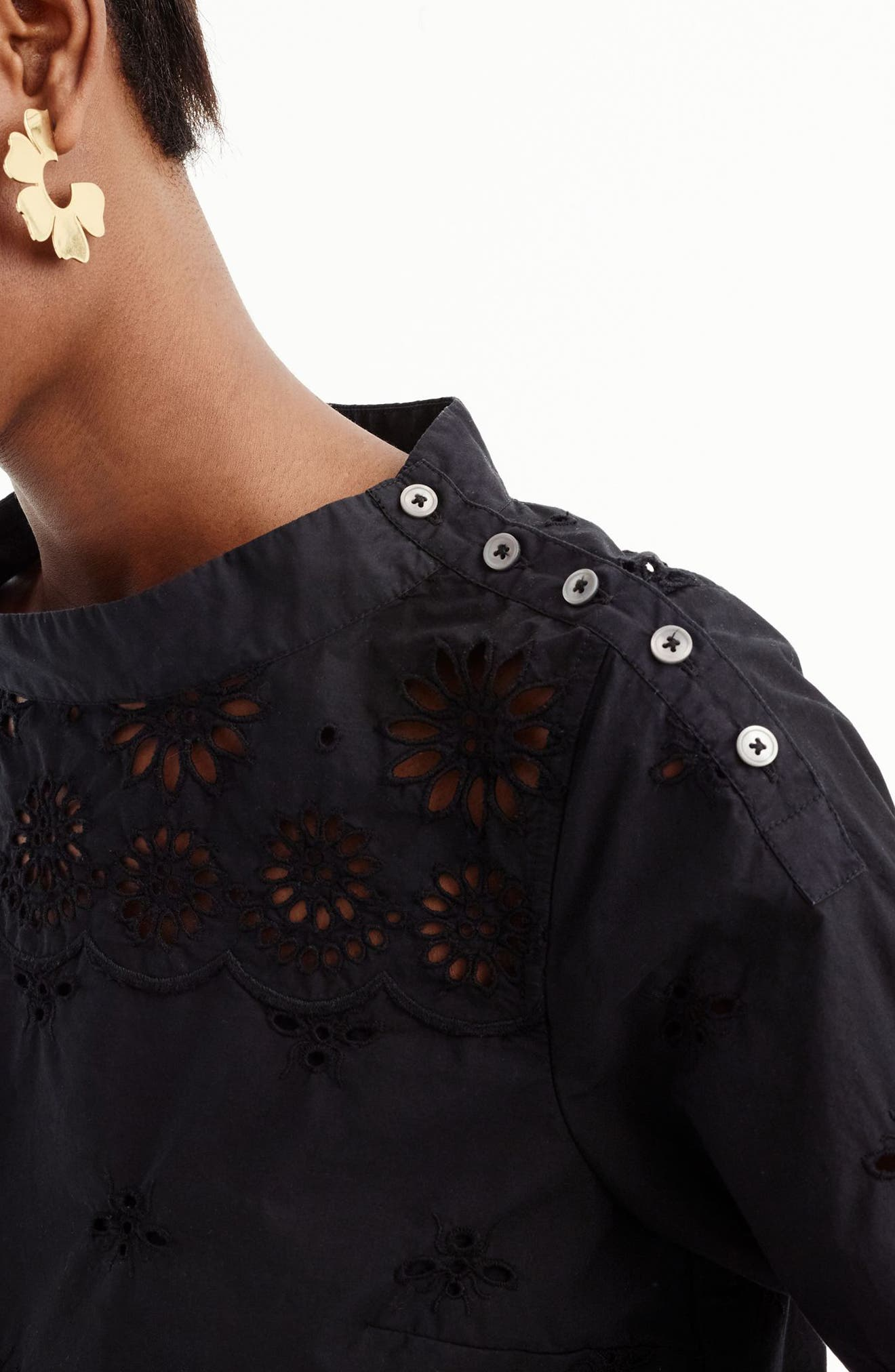 Rooster Eyelet Cotton Top,                             Alternate thumbnail 4, color,                             001