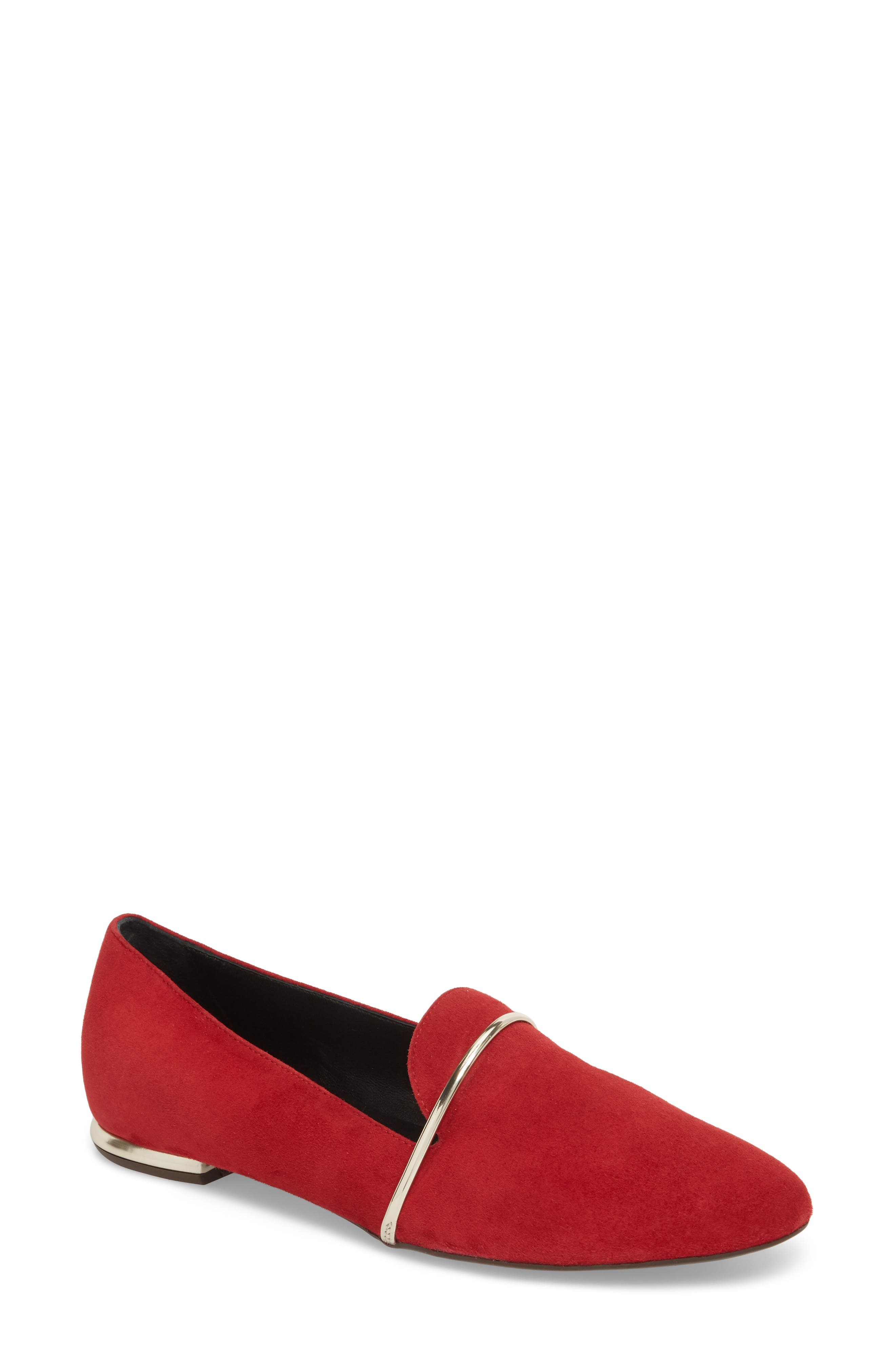 Smoking Slipper,                         Main,                         color, RED SUEDE
