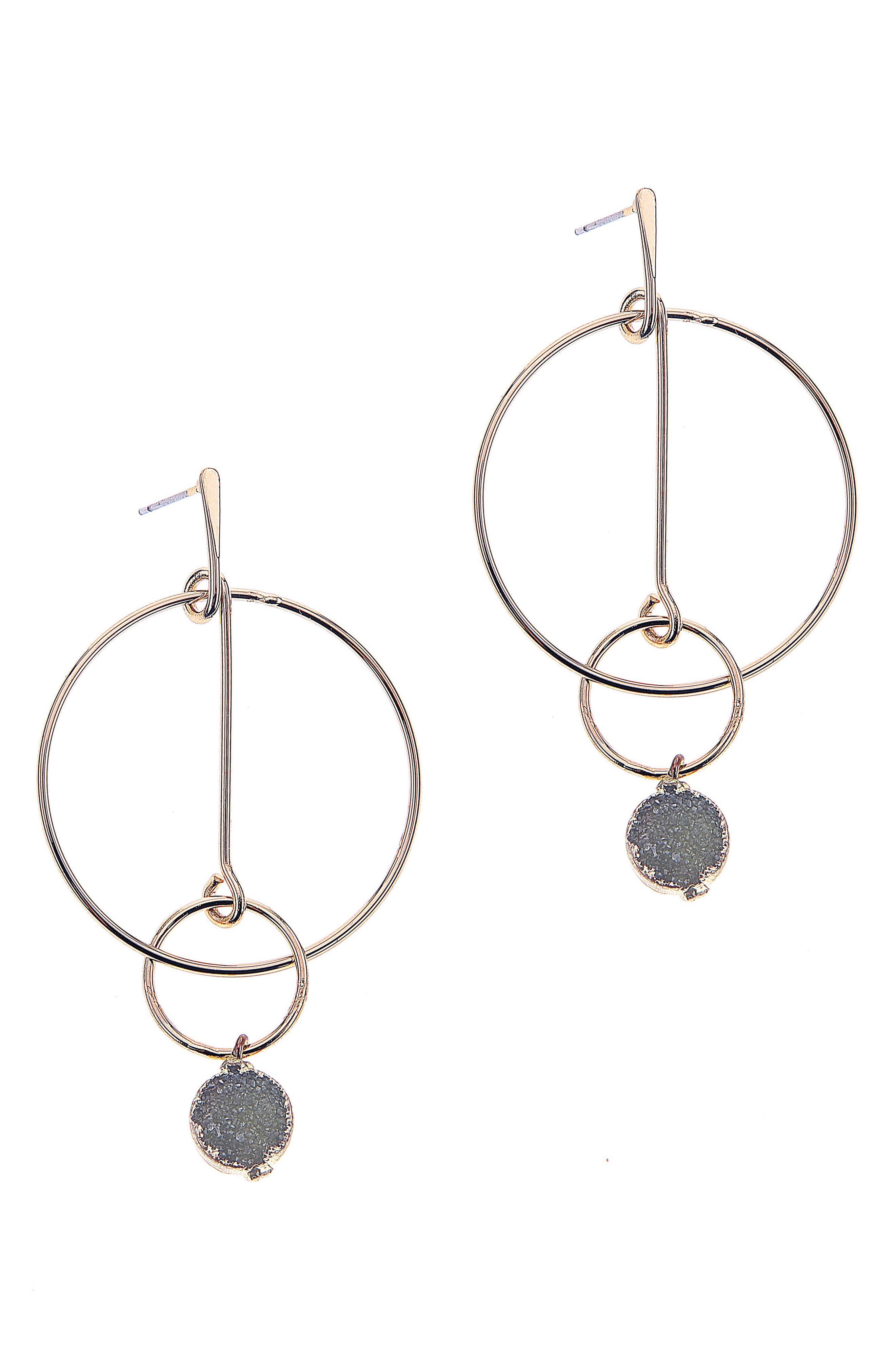 NAKAMOL DESIGN Drusy Post Hoop Earrings, Main, color, 400