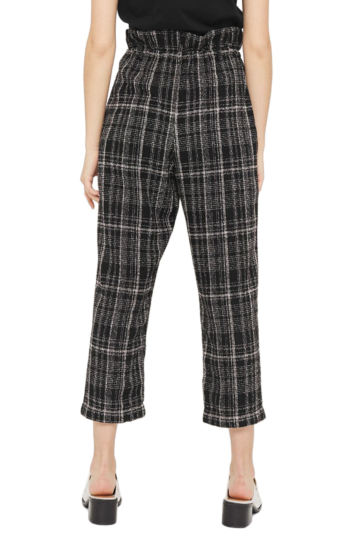 Neppy Checked Paperbag Trousers,                             Alternate thumbnail 2, color,                             001