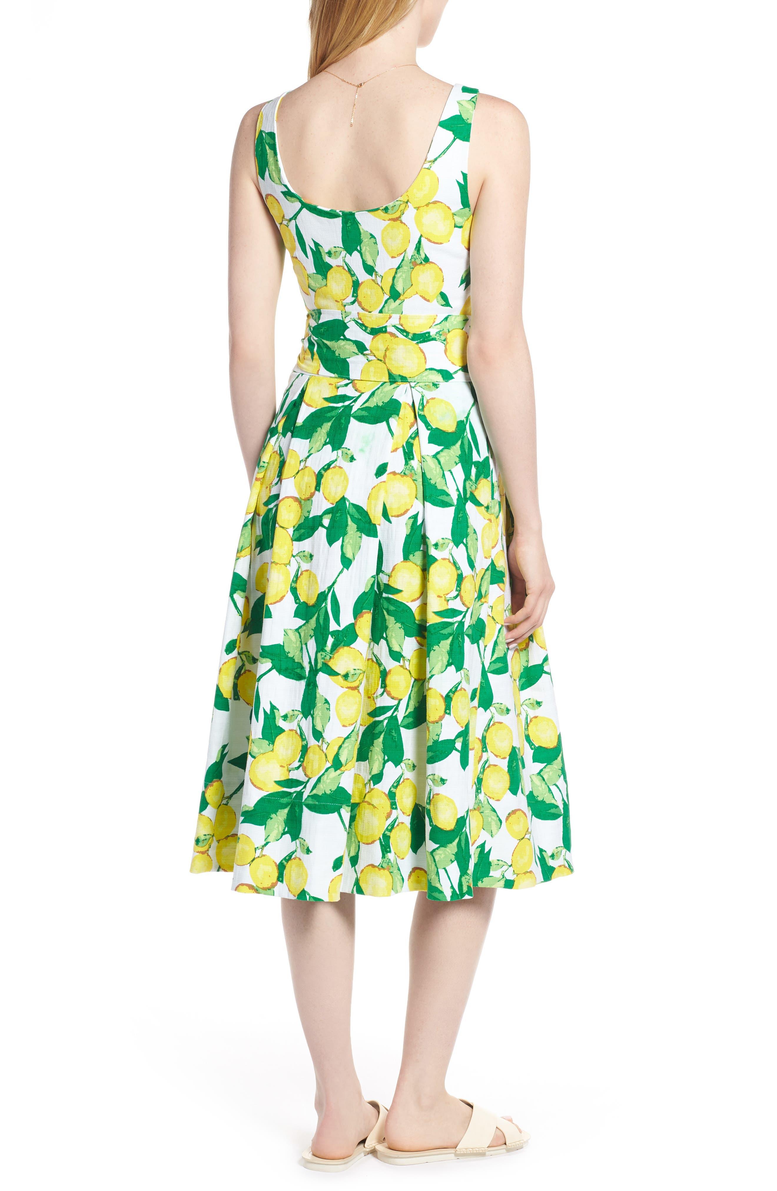 Button Front Lemon Print Dress,                             Alternate thumbnail 2, color,                             700