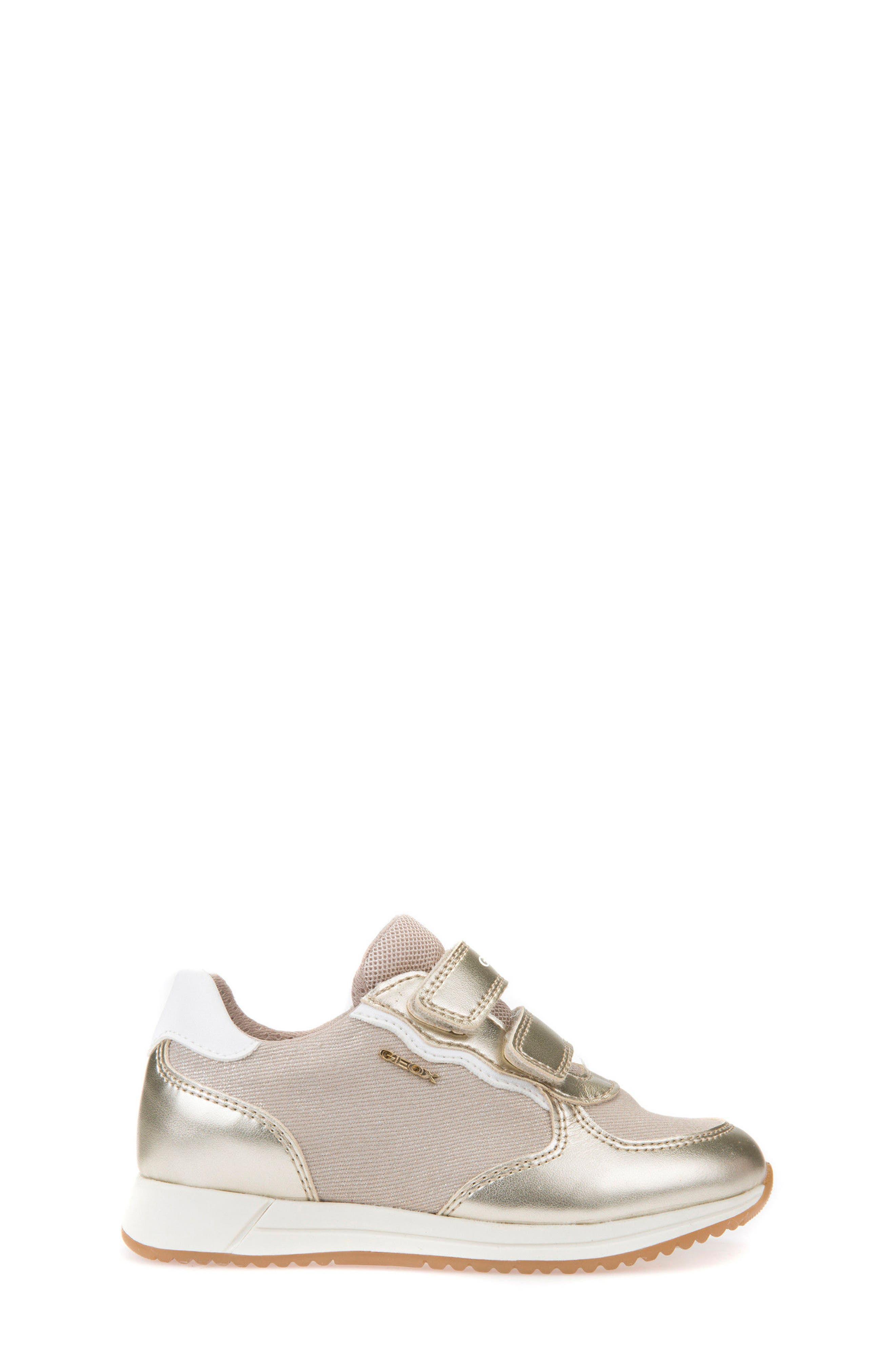 Jensea Metallic Accent Sneaker,                             Alternate thumbnail 3, color,                             BEIGE/ LIGHT GOLD