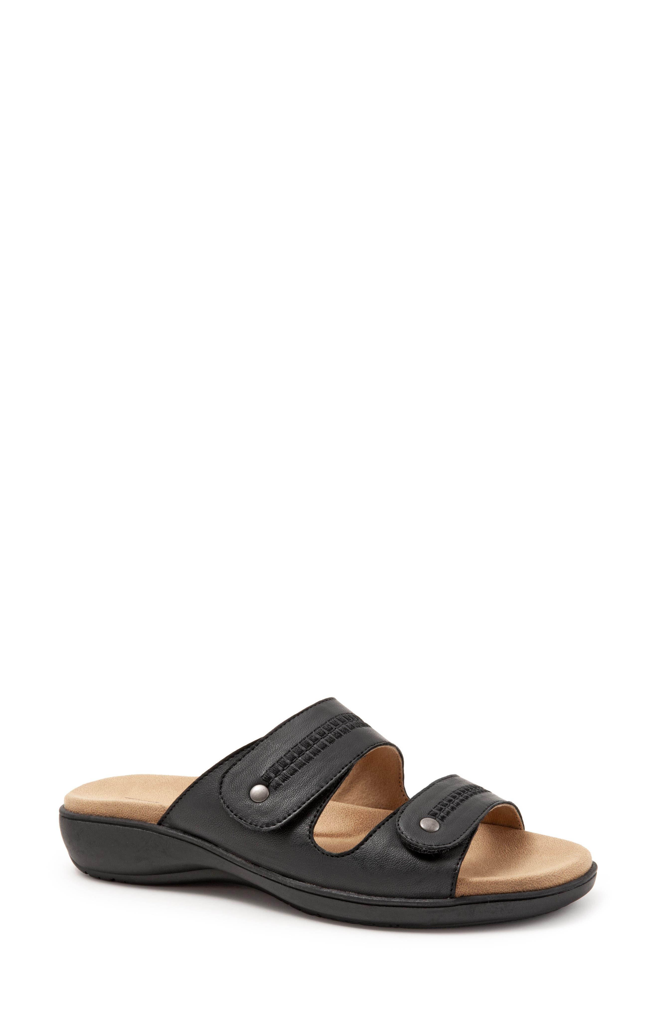 Vale Double Strap Slide Sandal,                             Main thumbnail 1, color,                             BLACK LEATHER