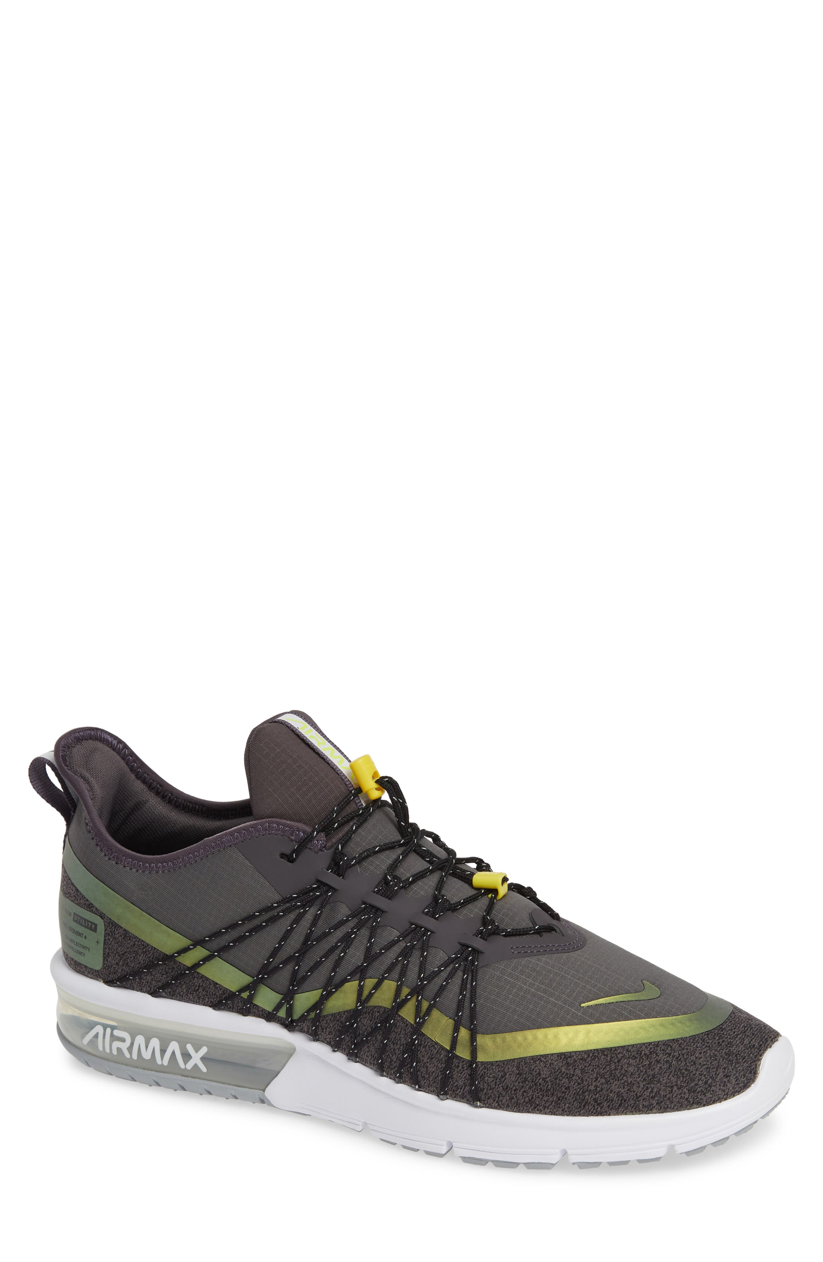 Air Max Sequent 4 Utility Running Shoe,                             Main thumbnail 1, color,                             THUNDER GREY/ VOLT