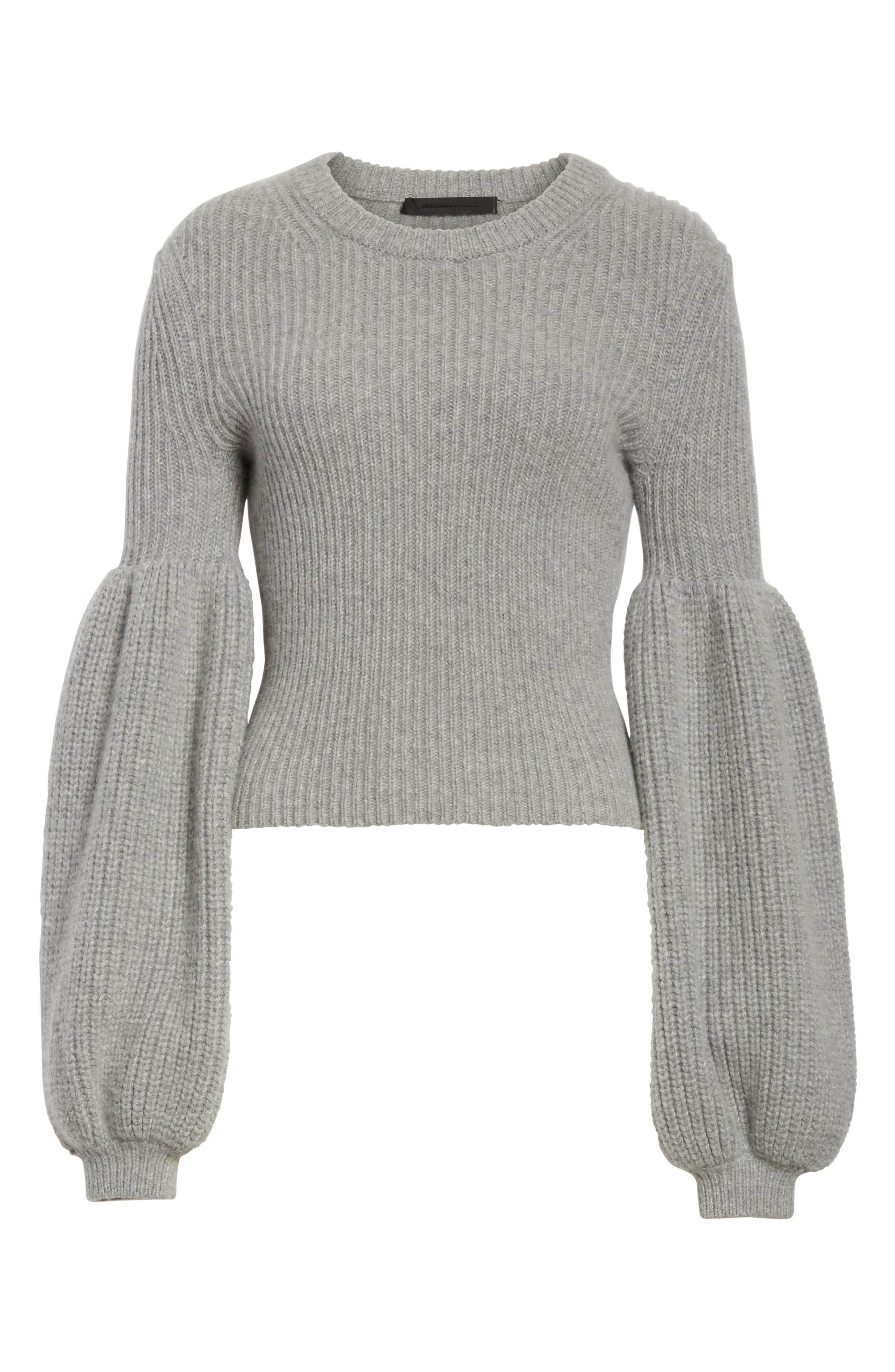 Puff Lantern Sleeve Wool & Cashmere Blend Sweater,                             Alternate thumbnail 6, color,                             020