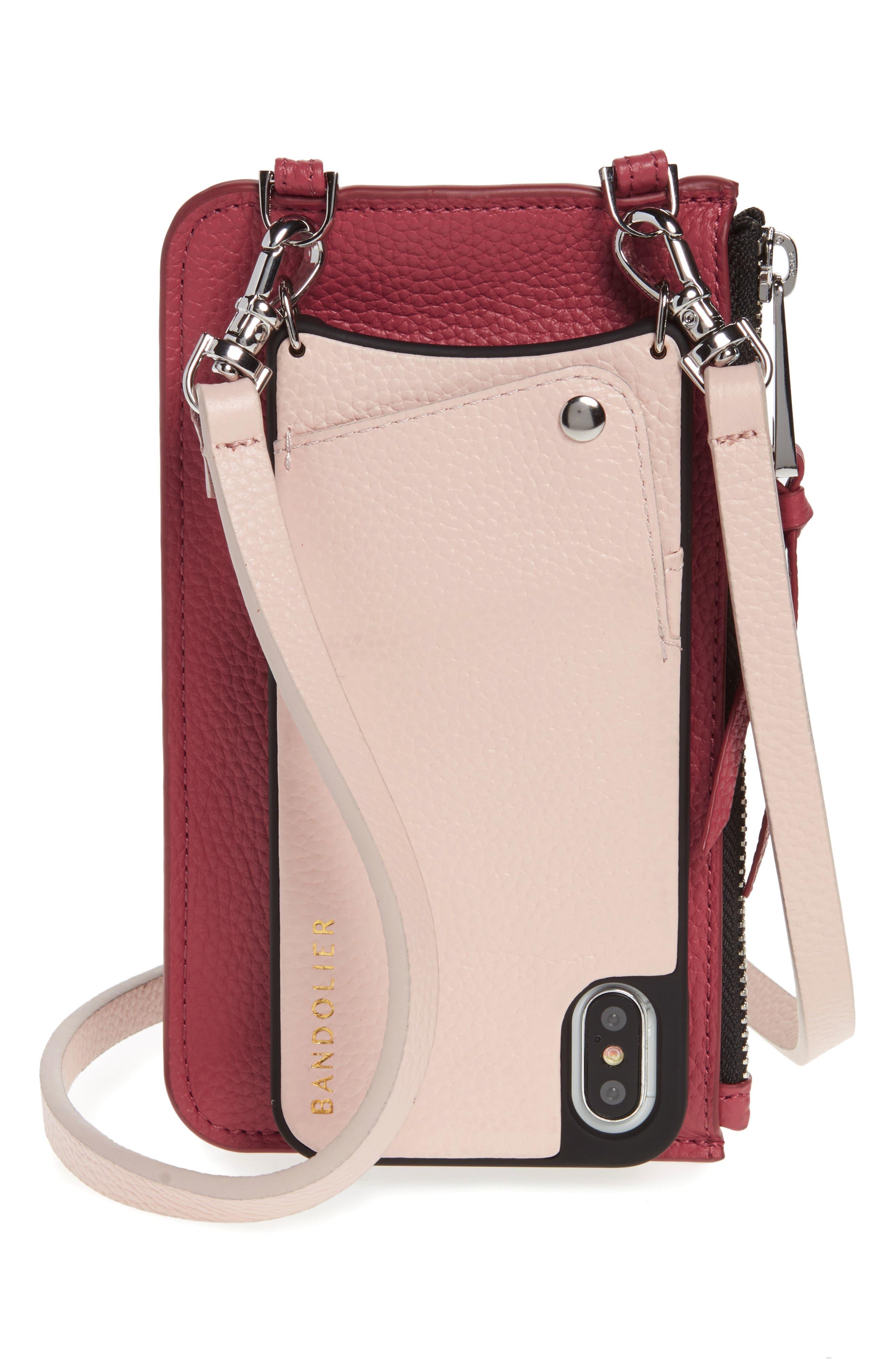BANDOLIER,                             Emma Leather iPhone X/Xs Crossbody Case,                             Main thumbnail 1, color,                             PINK/ MAUVE