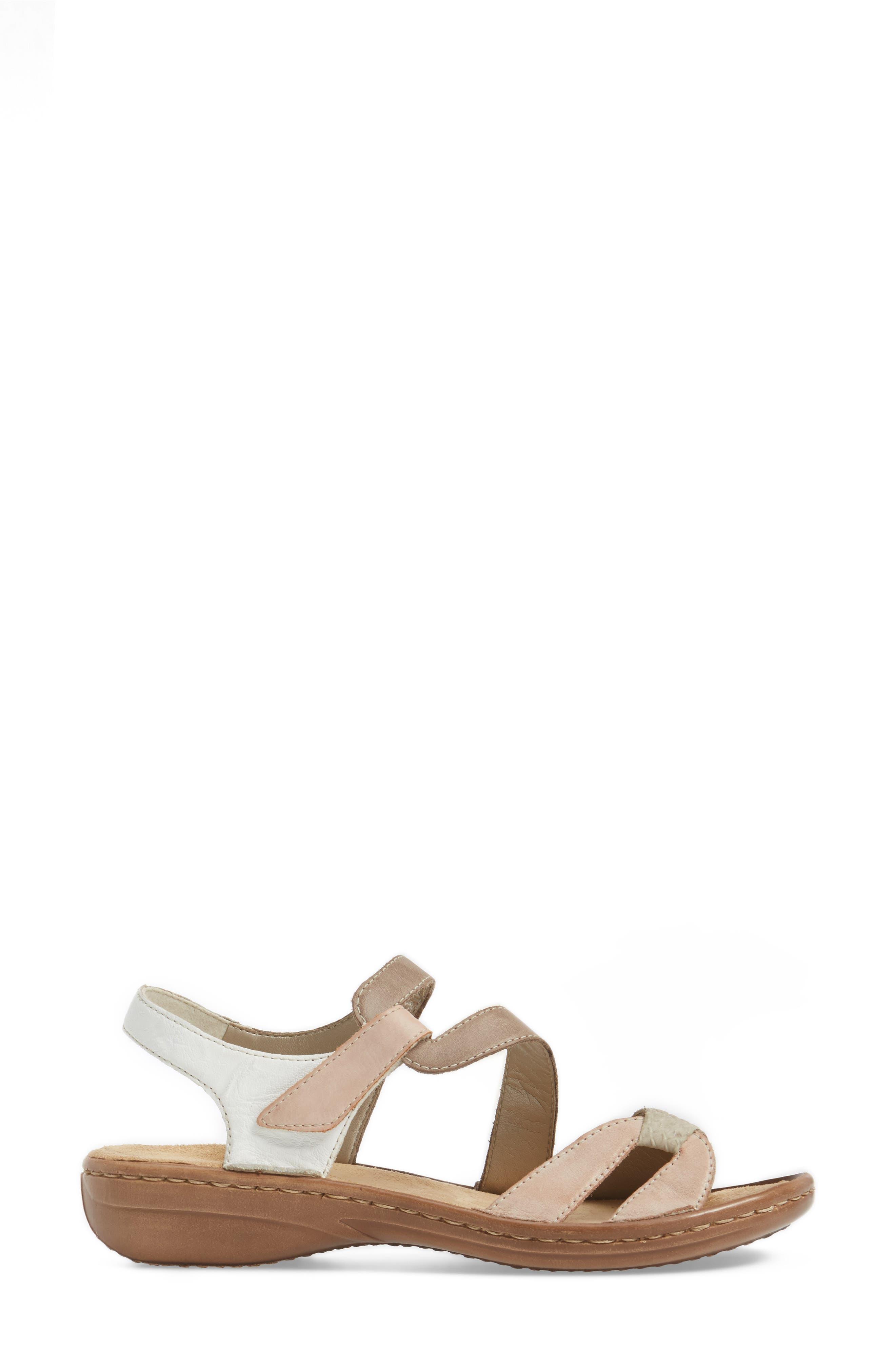 Regina 66 Wedge Sandal,                             Alternate thumbnail 3, color,                             ROSE LEATHER
