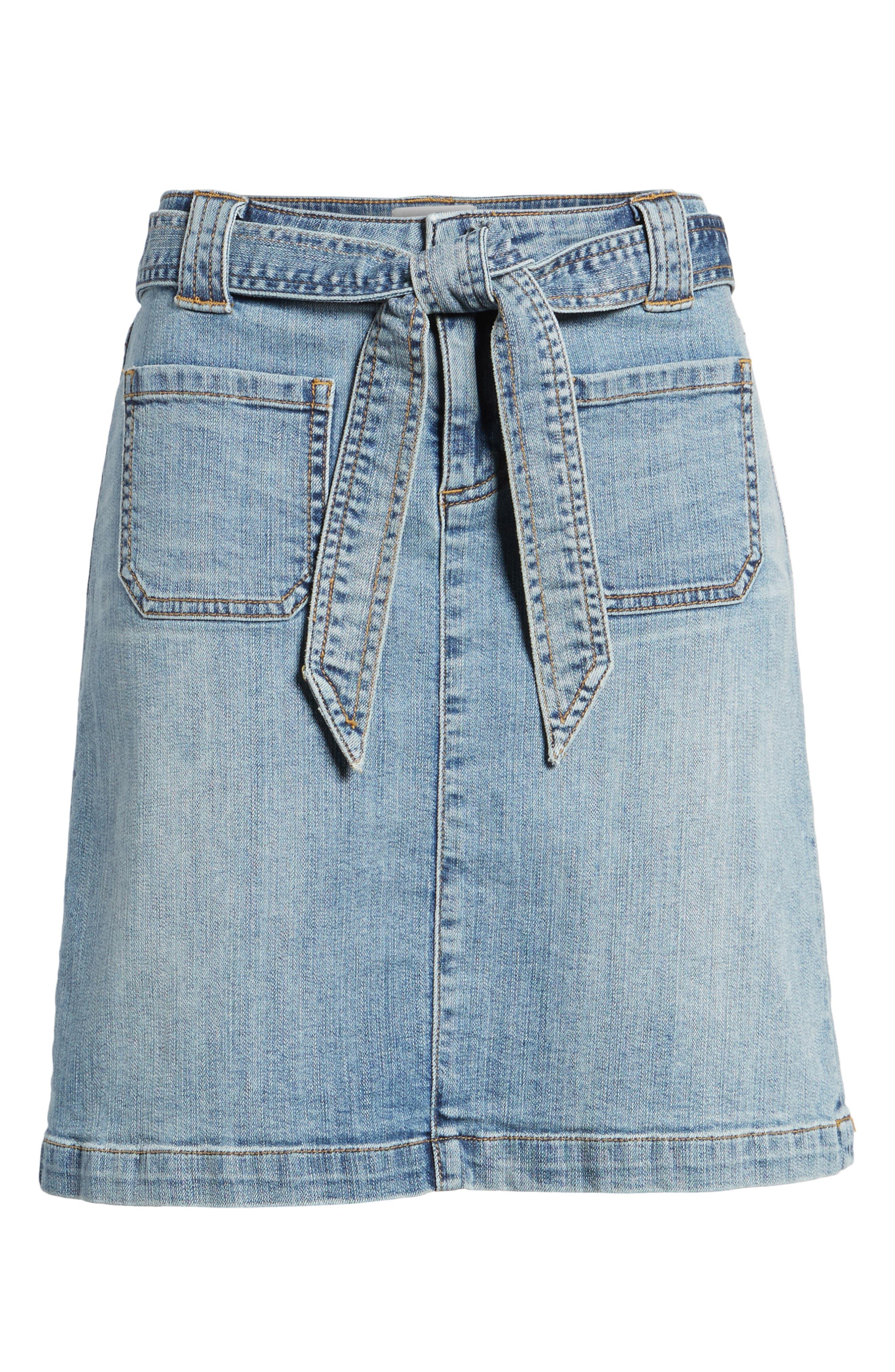 Belted Stretch Denim Skirt,                             Alternate thumbnail 6, color,                             420