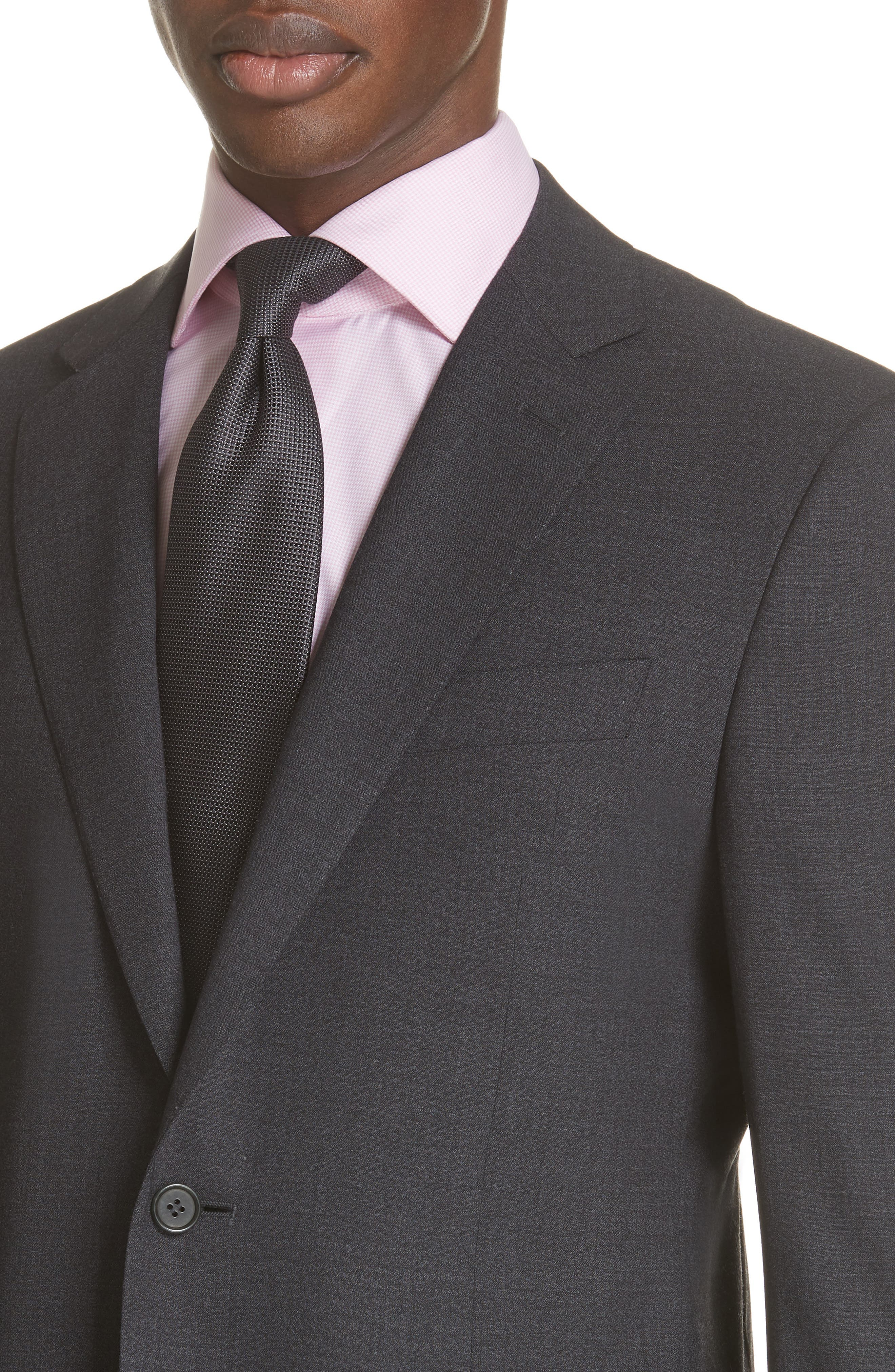 Classic Fit Stretch Solid Wool Suit,                             Alternate thumbnail 4, color,                             CHARCOAL