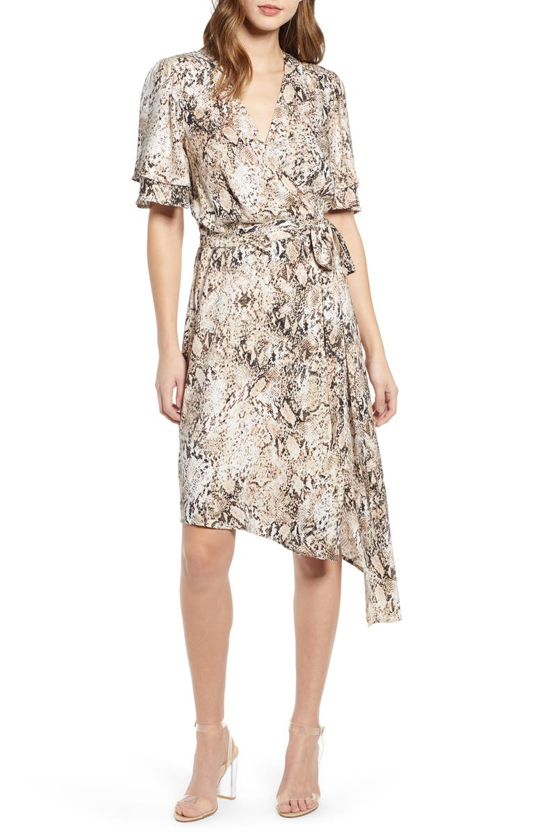 Ruffle Sleeve Wrap Dress, Main, color, IVORY SNAKE PRINT