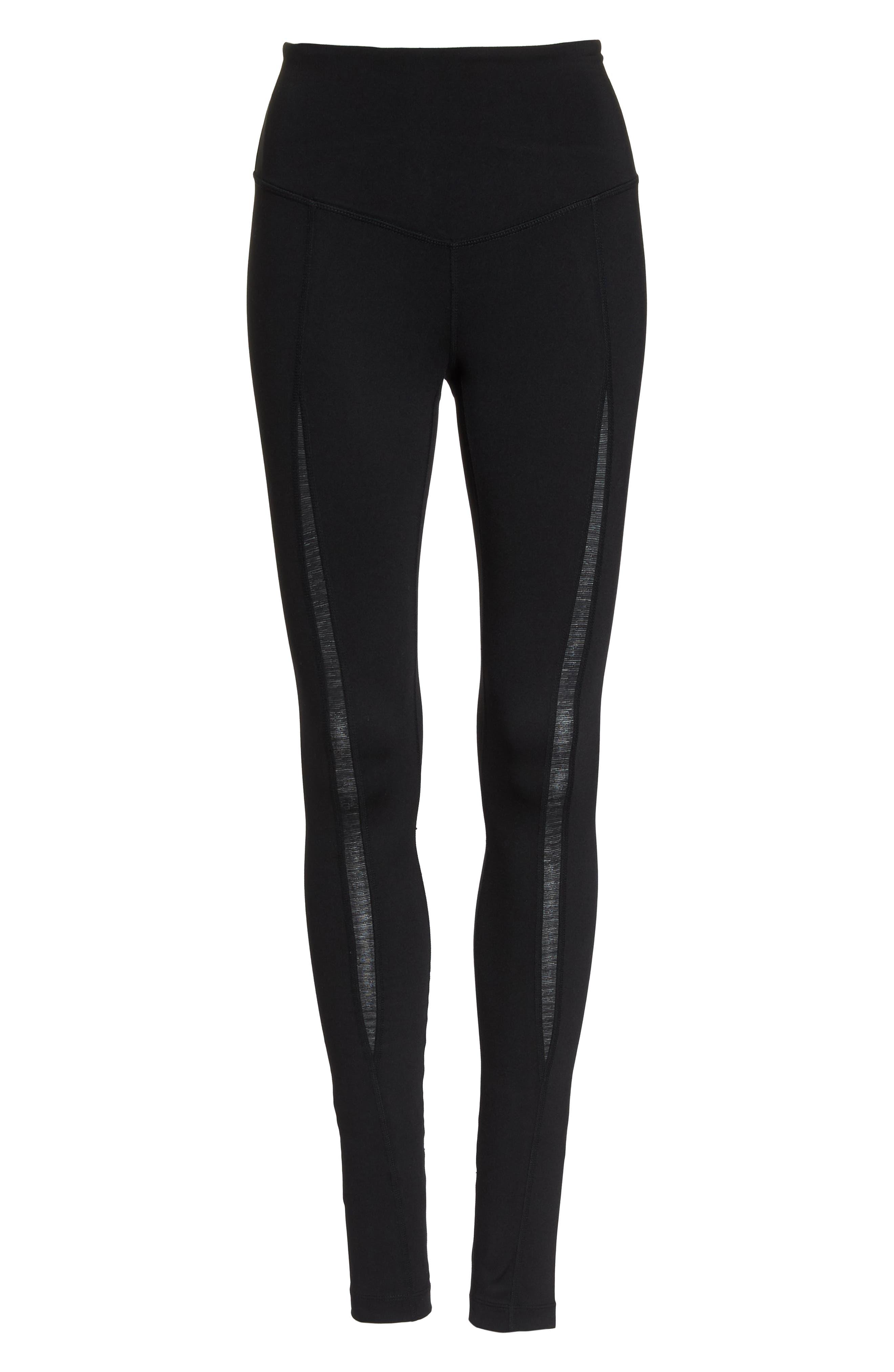Reinvent Recycled High Waist Leggings,                             Alternate thumbnail 7, color,                             BLACK
