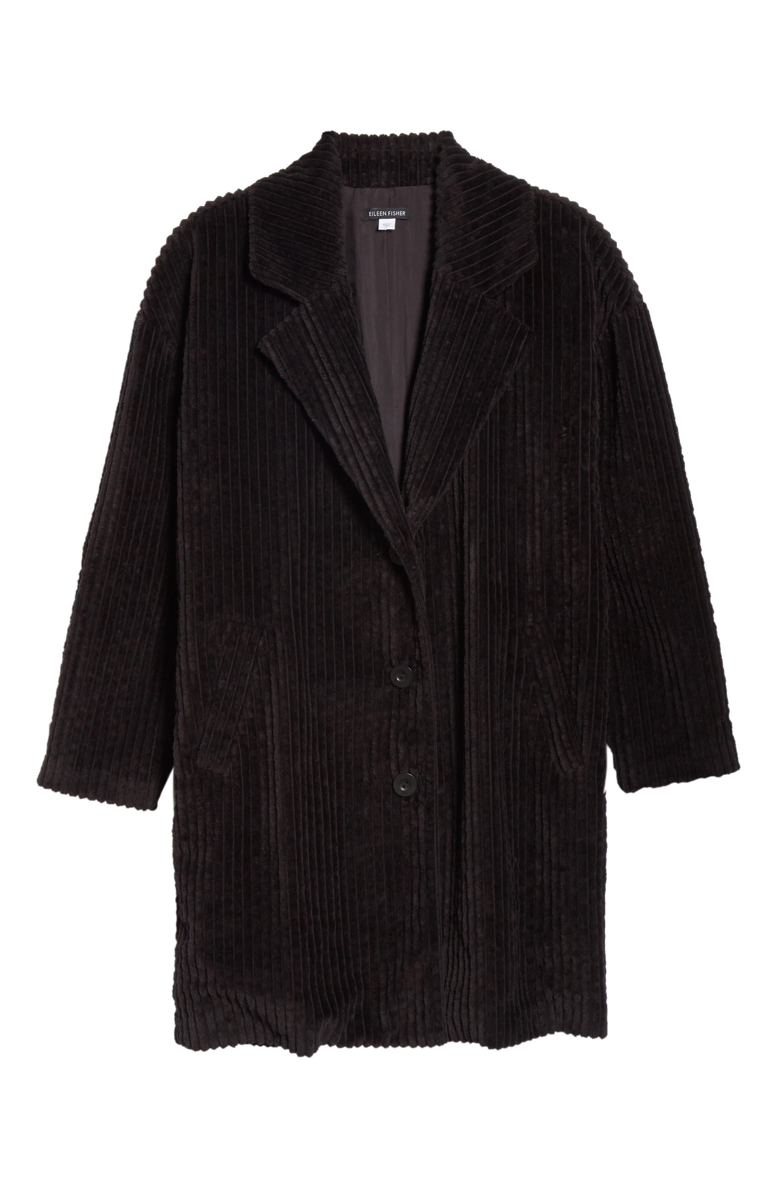 EILEEN FISHER,                             Organic Cotton Corduroy Coat,                             Alternate thumbnail 6, color,                             001