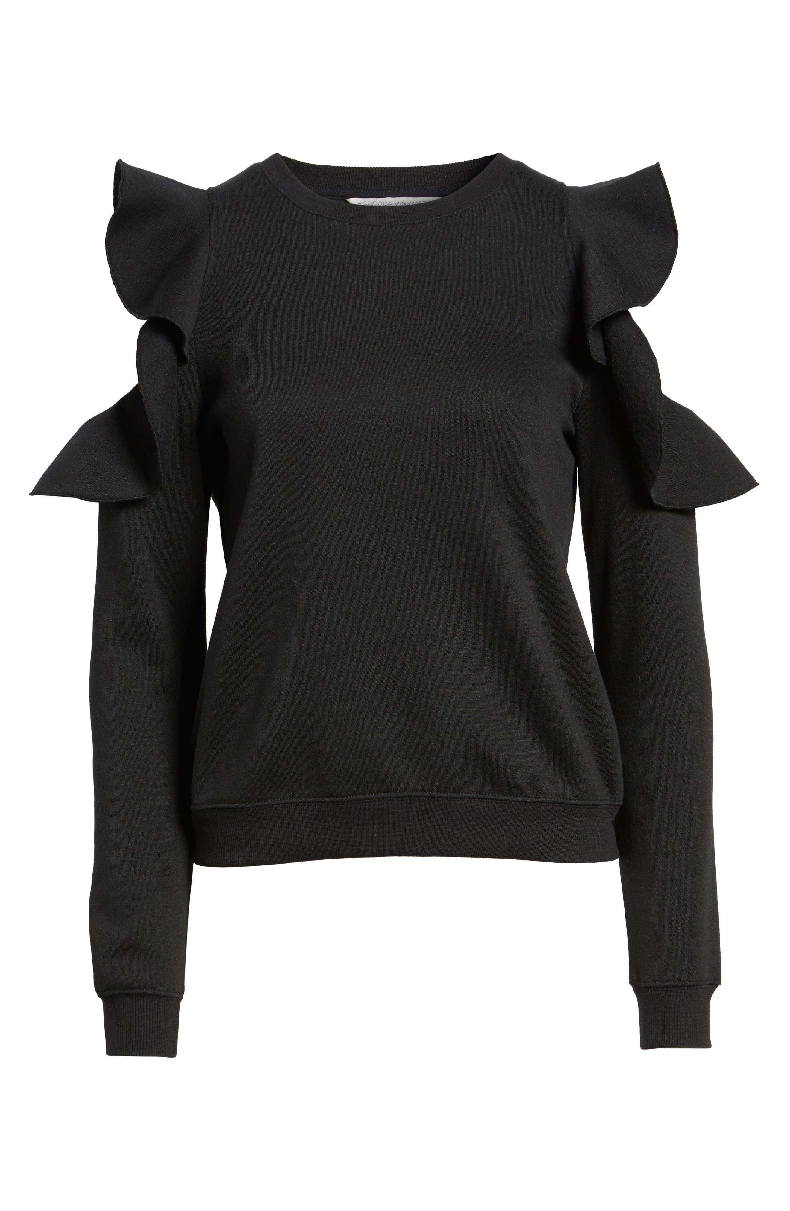 Gracie Cold Shoulder Sweatshirt,                             Alternate thumbnail 7, color,                             001