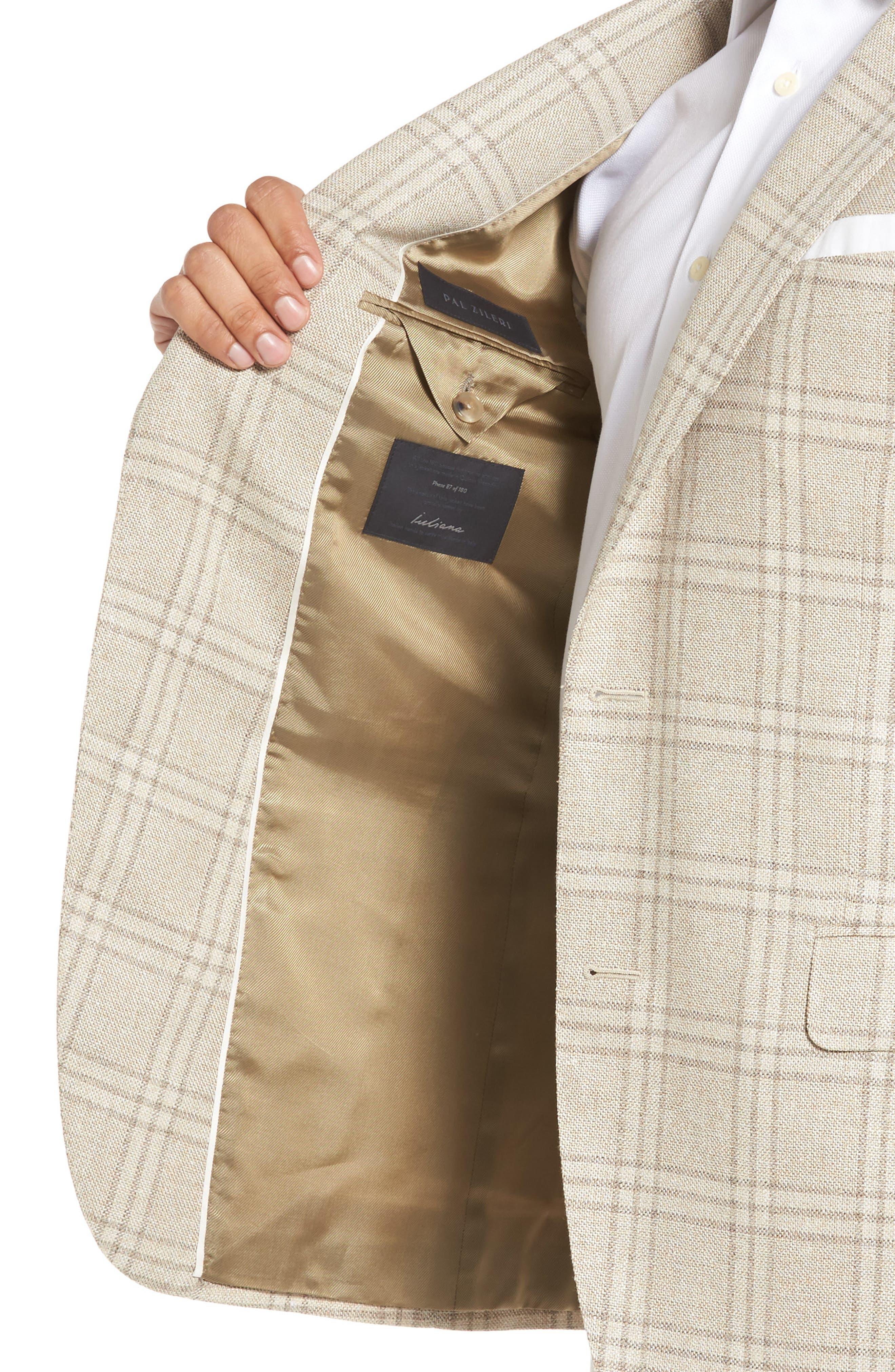 Plaid Wool Blend Sport Coat,                             Alternate thumbnail 4, color,                             252