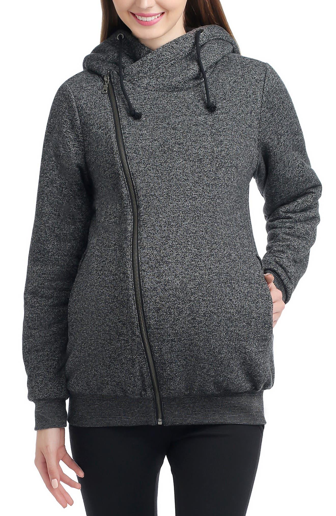 Kenzie Zip Maternity Hoodie,                         Main,                         color, BLACK