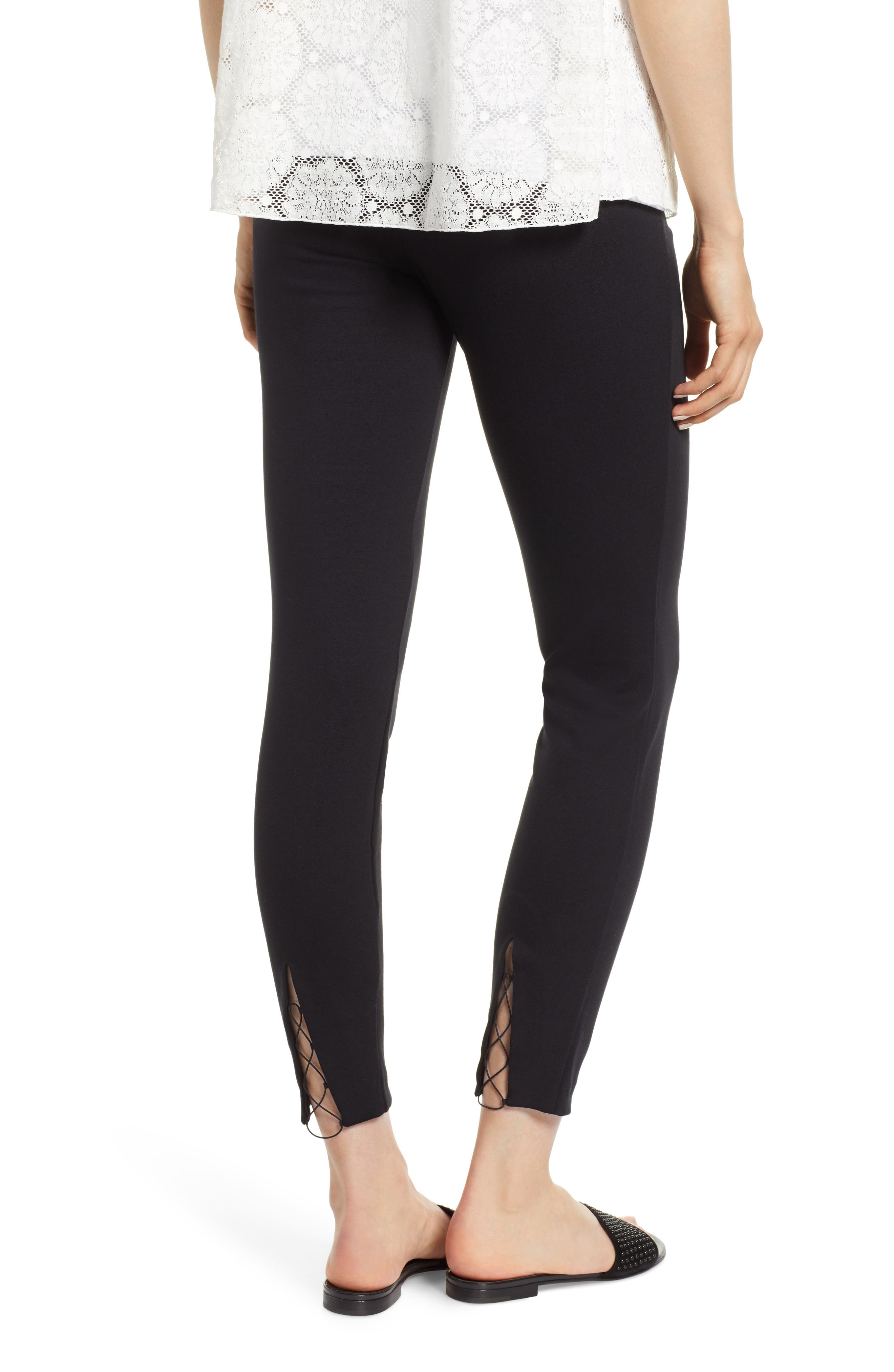 Grace Laced Detail Leggings,                             Alternate thumbnail 2, color,                             BLACK/ BLACK