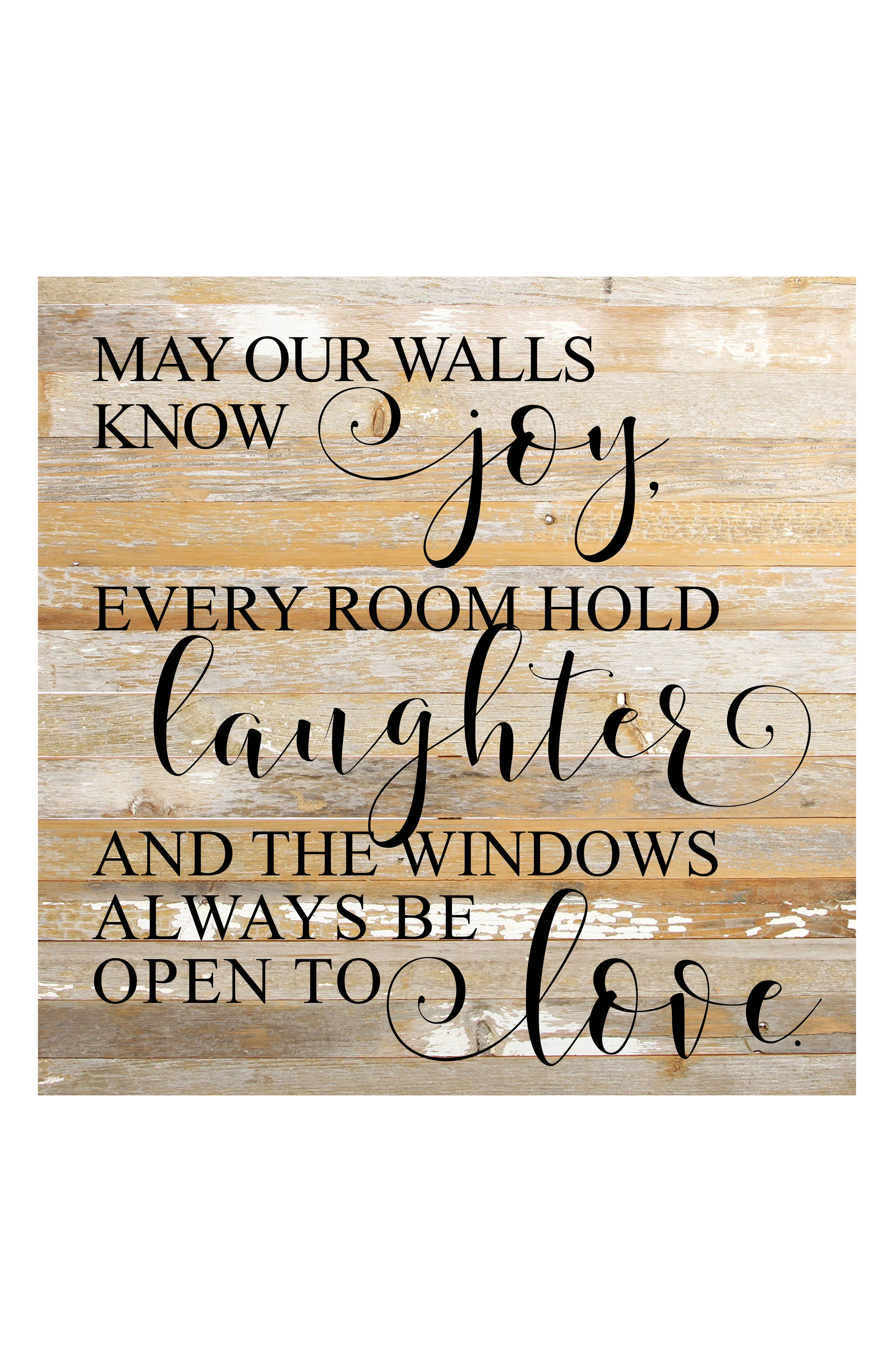 May Our Walls Know Joy Repurposed Wood Wall Art,                         Main,                         color, WHITE