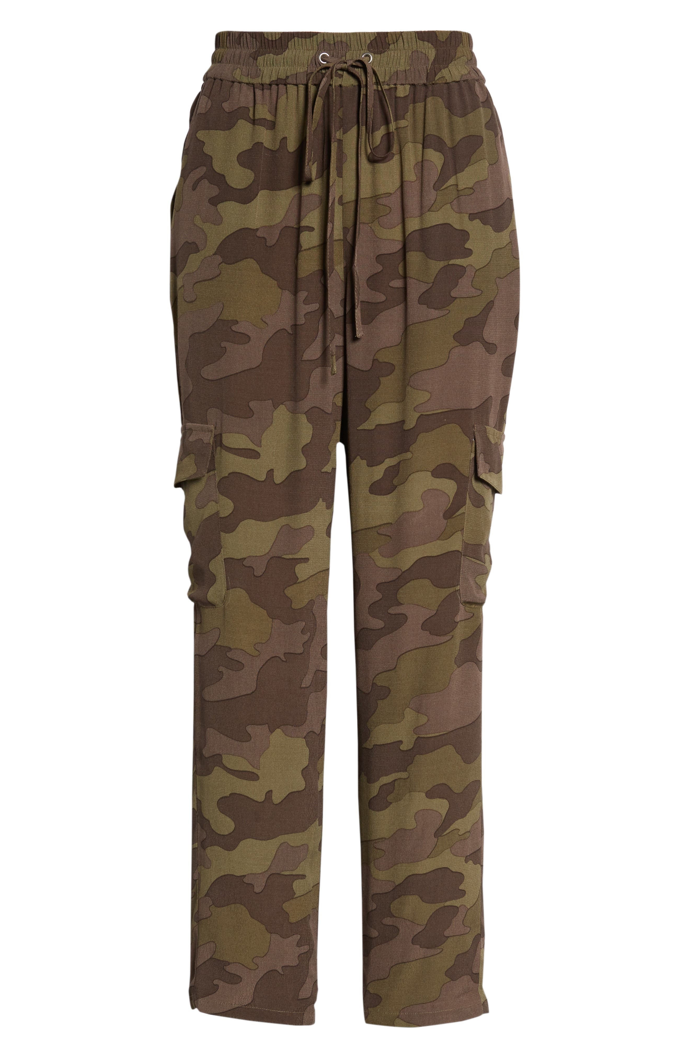 High Rise Camouflage Cargo Pants,                             Alternate thumbnail 8, color,                             210