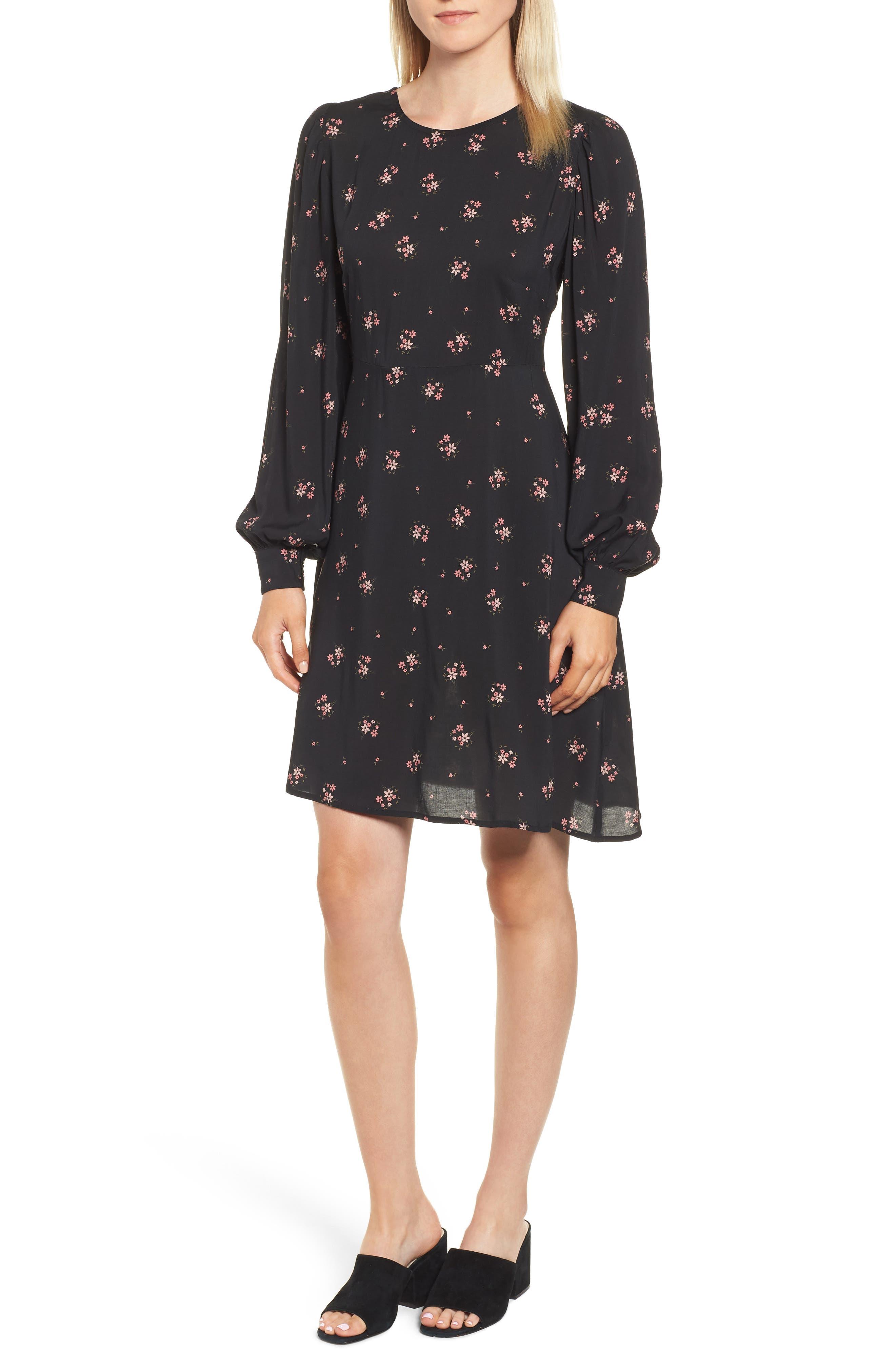 Floral Blouson Sleeve Dress,                         Main,                         color, CAMELLIA