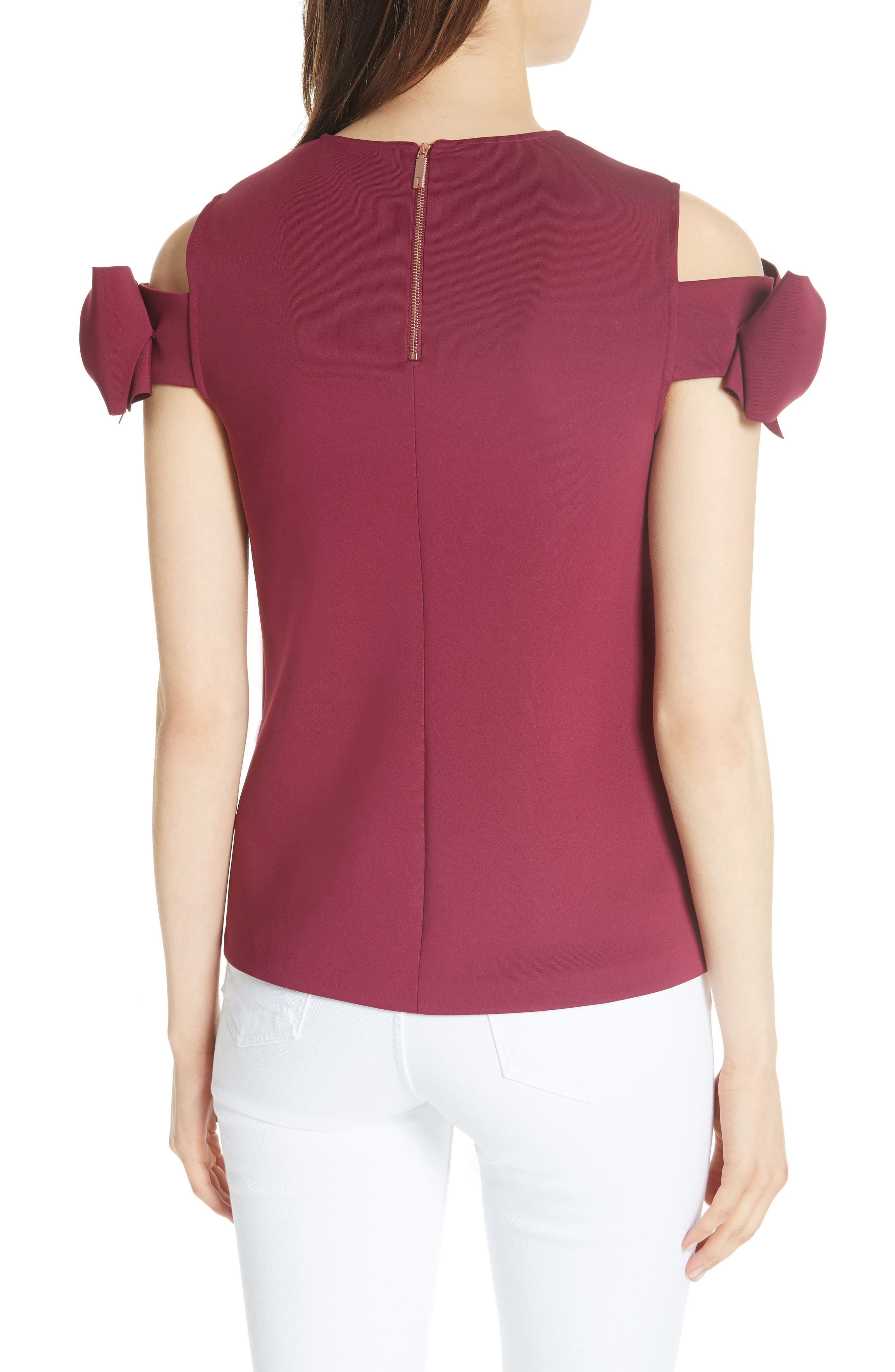 Mendoll Bow Sleeve Cold Shoulder Top,                             Alternate thumbnail 2, color,                             MAROON
