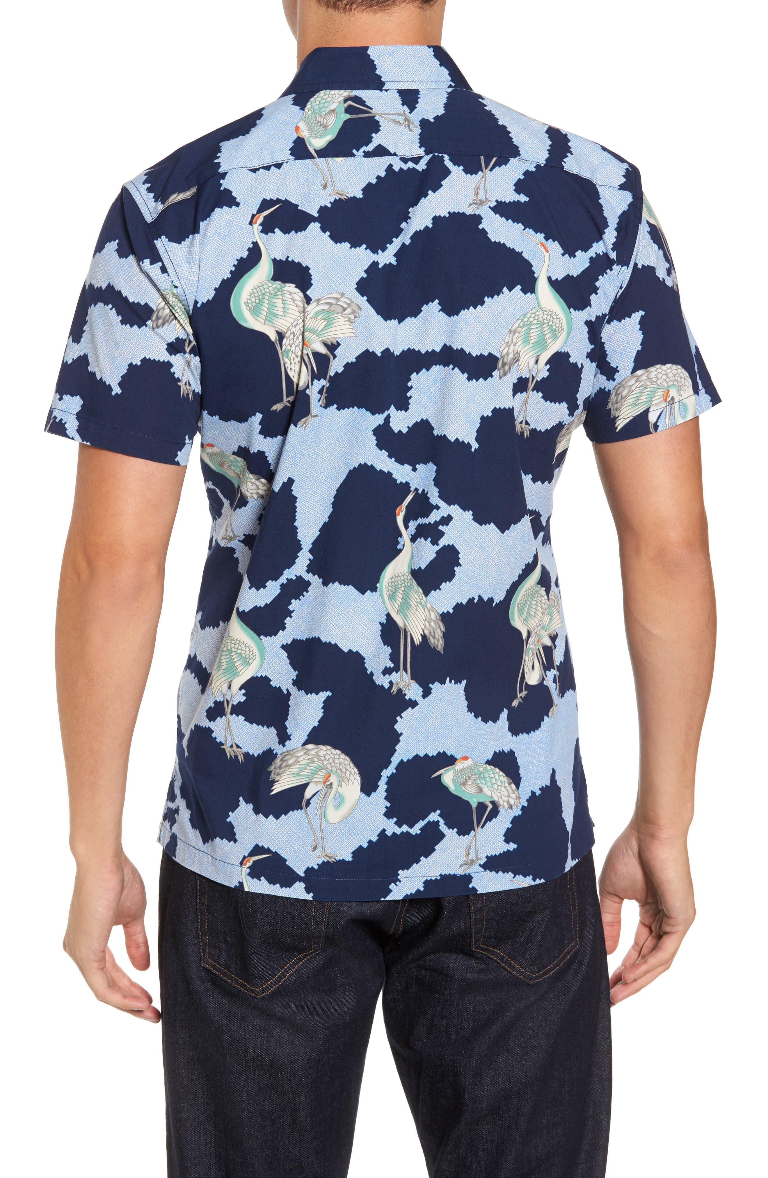 1000 Cranes Classic Fit Print Sport Shirt,                             Alternate thumbnail 2, color,                             415
