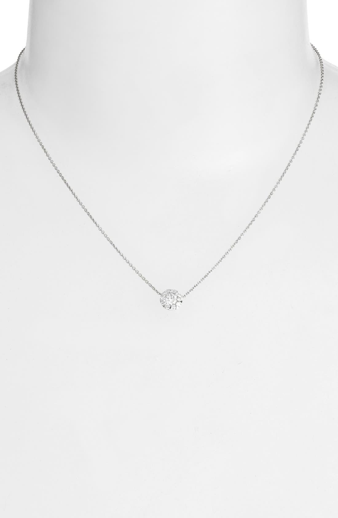 'Sunburst' Diamond Pendant Necklace,                             Alternate thumbnail 2, color,                             WHITE GOLD