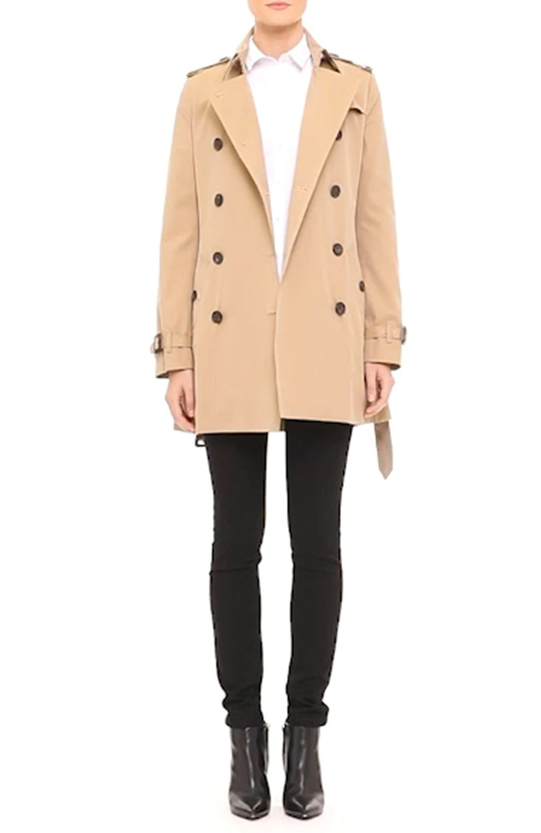 Kensington Short Trench Coat,                             Alternate thumbnail 5, color,                             HONEY
