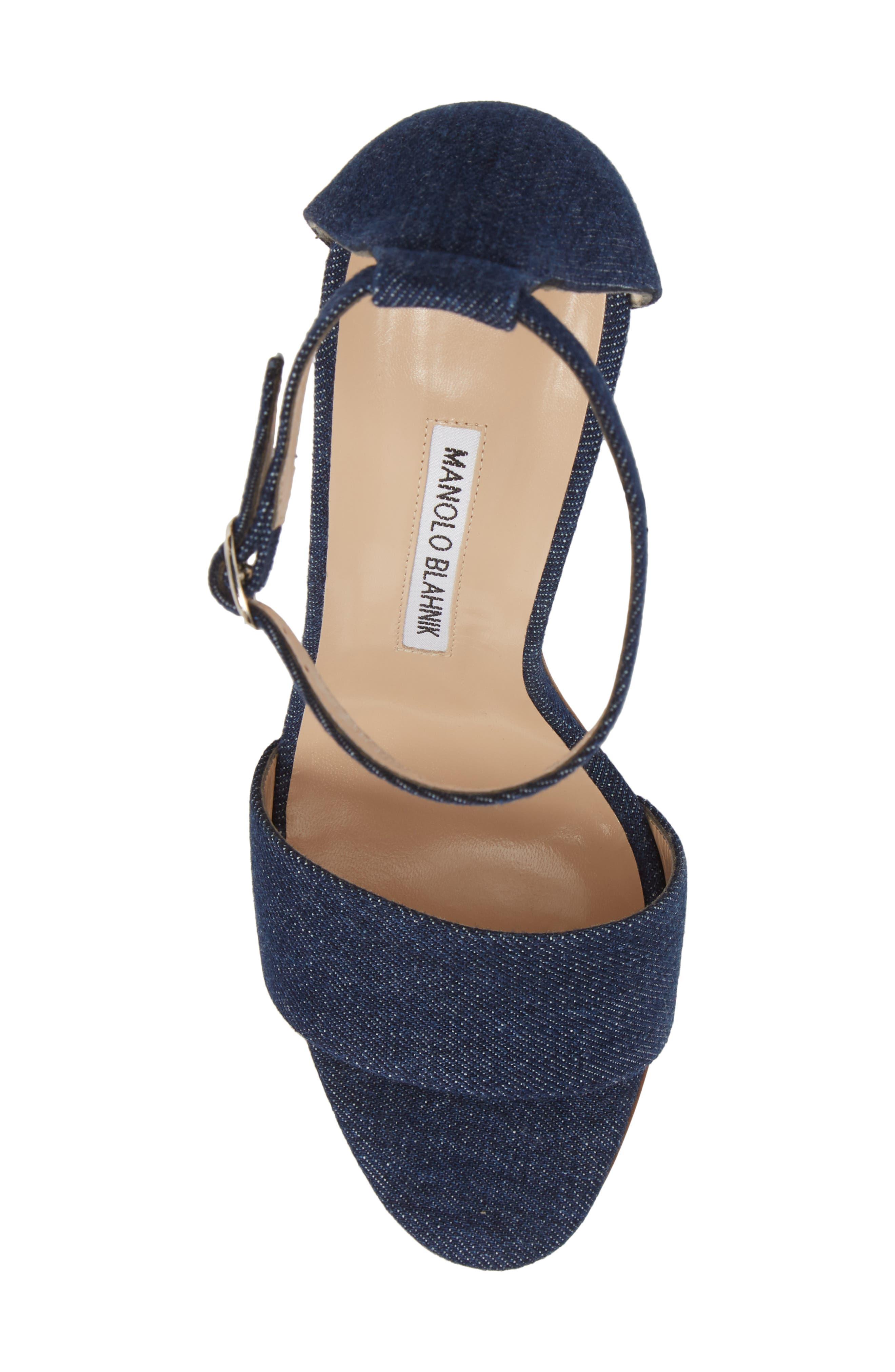 Tres Ankle Strap Sandal,                             Alternate thumbnail 5, color,                             DENIM BLUE