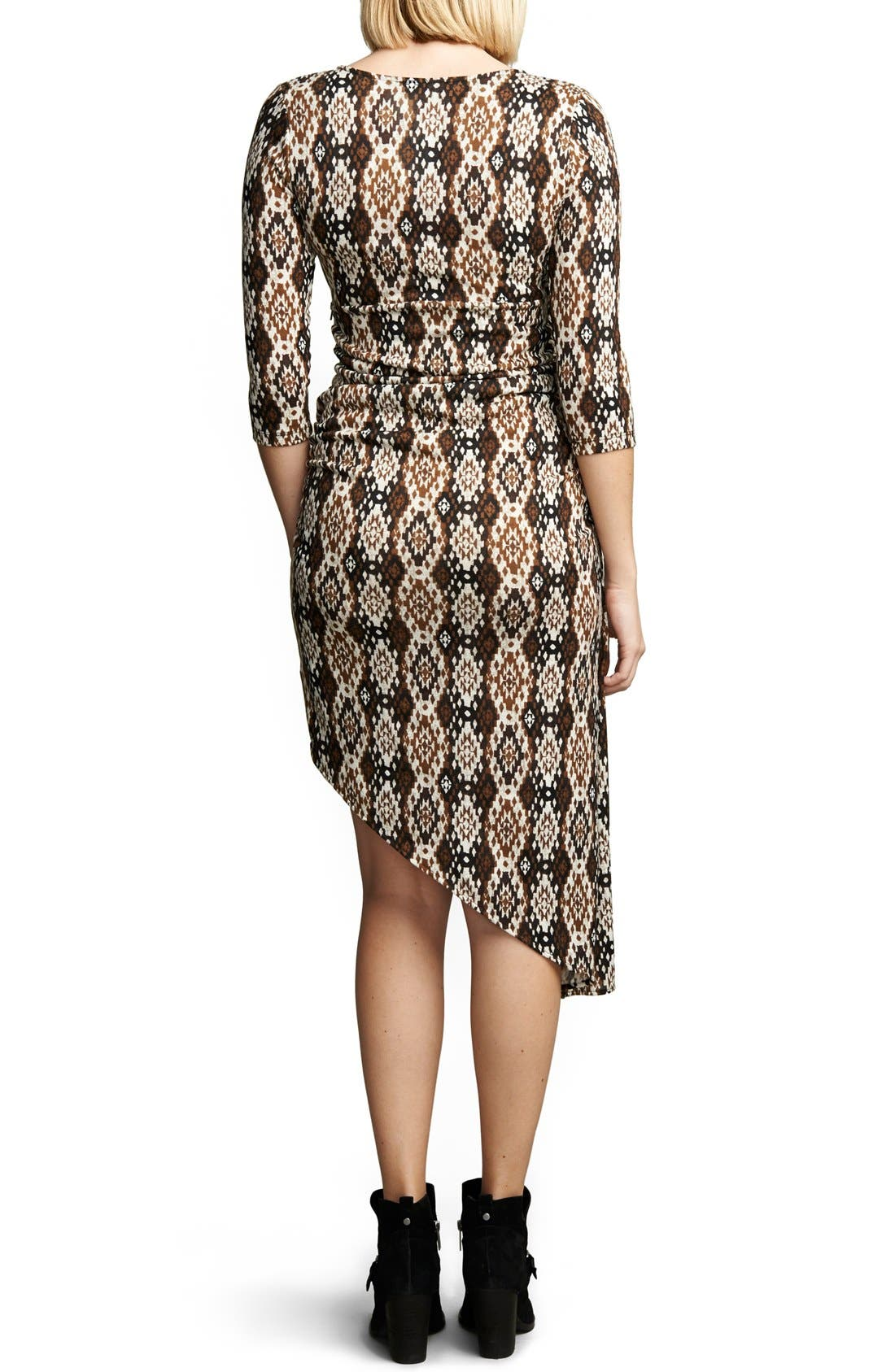 Print Asymmetrical Hem Dress,                             Alternate thumbnail 2, color,                             IKAT PRINT