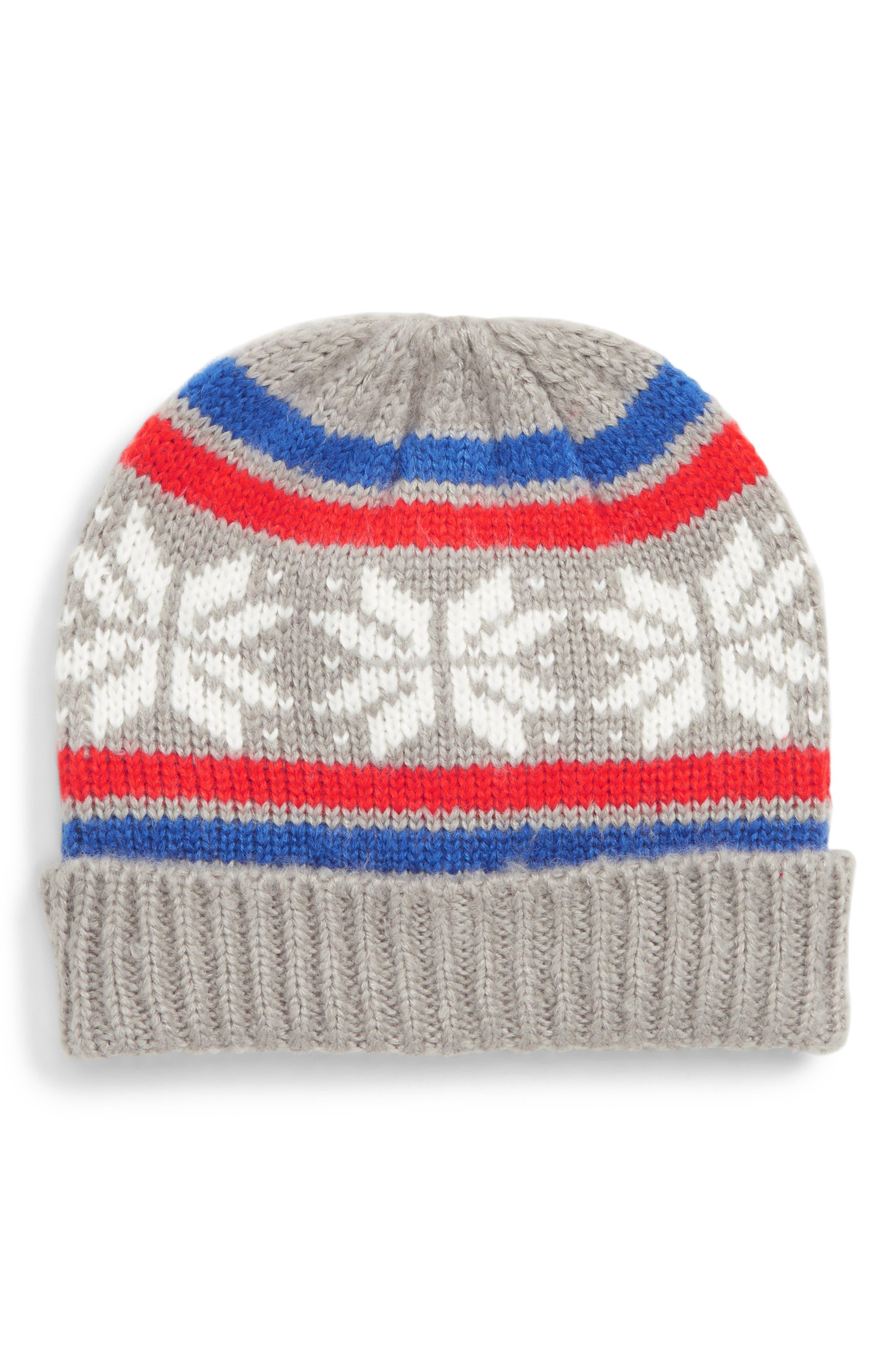 Fair Isle Knit Hat,                             Main thumbnail 1, color,                             GRY GREY MARL