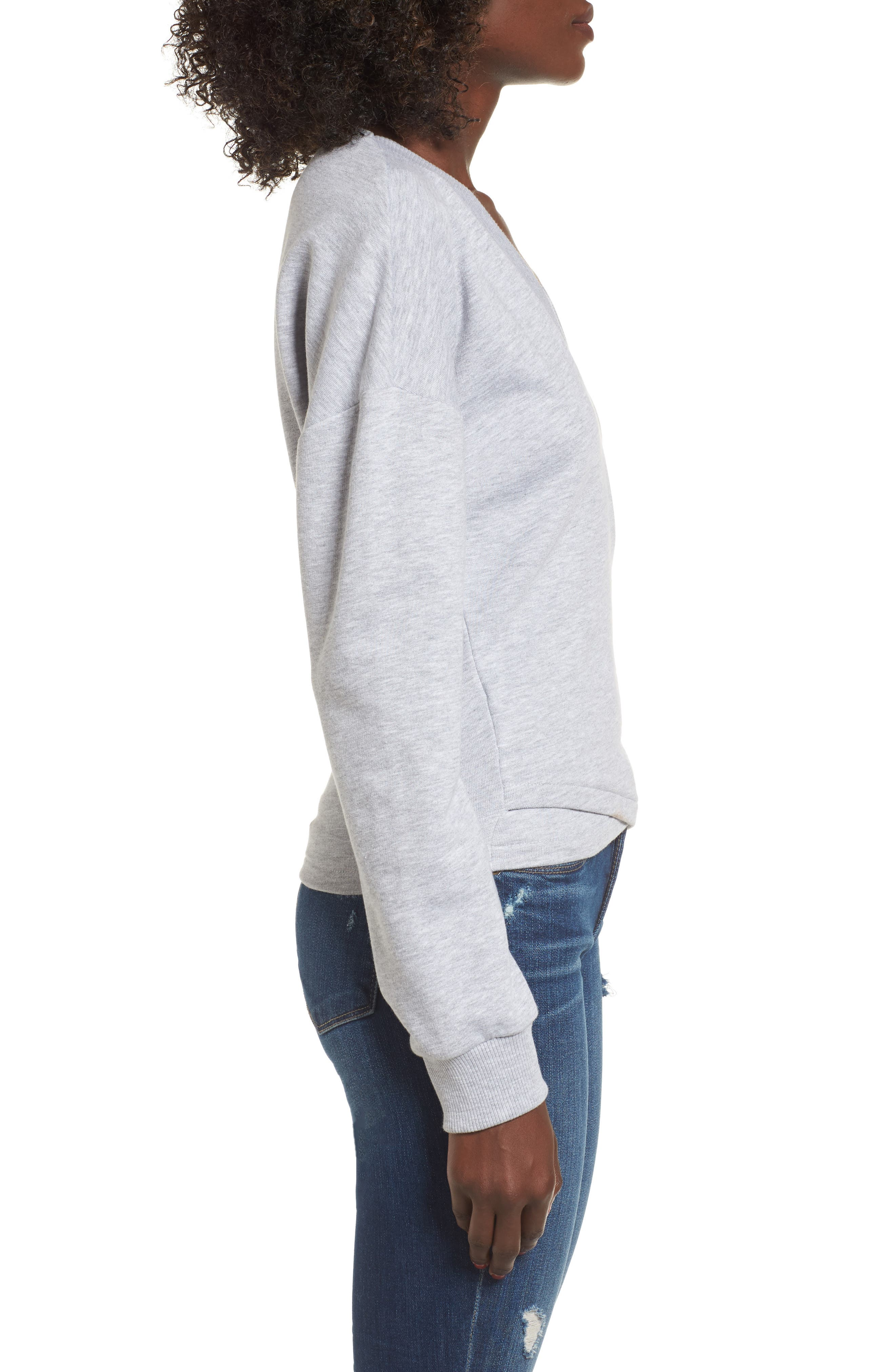 Teaser Faux Wrap Sweatshirt,                             Alternate thumbnail 3, color,                             020